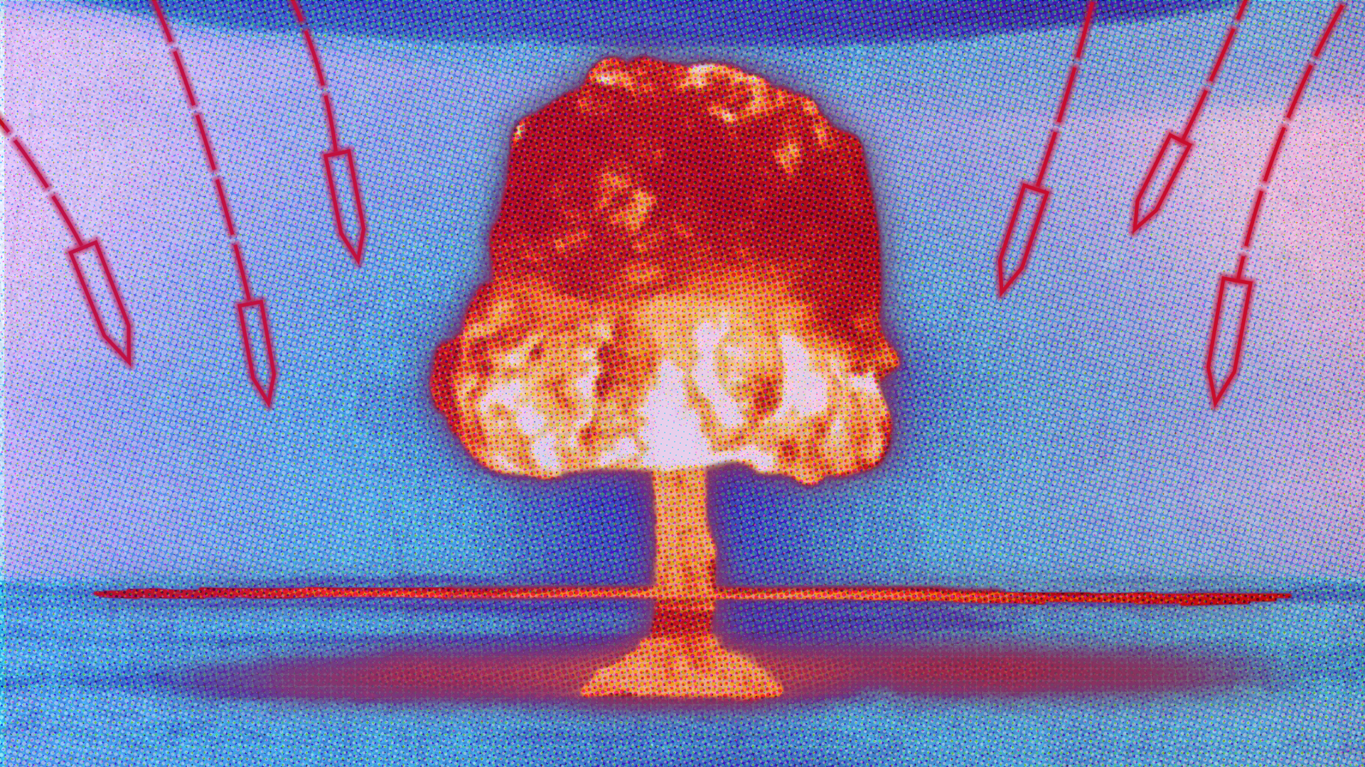 artwork of a nuclear bomb's mushroom cloud