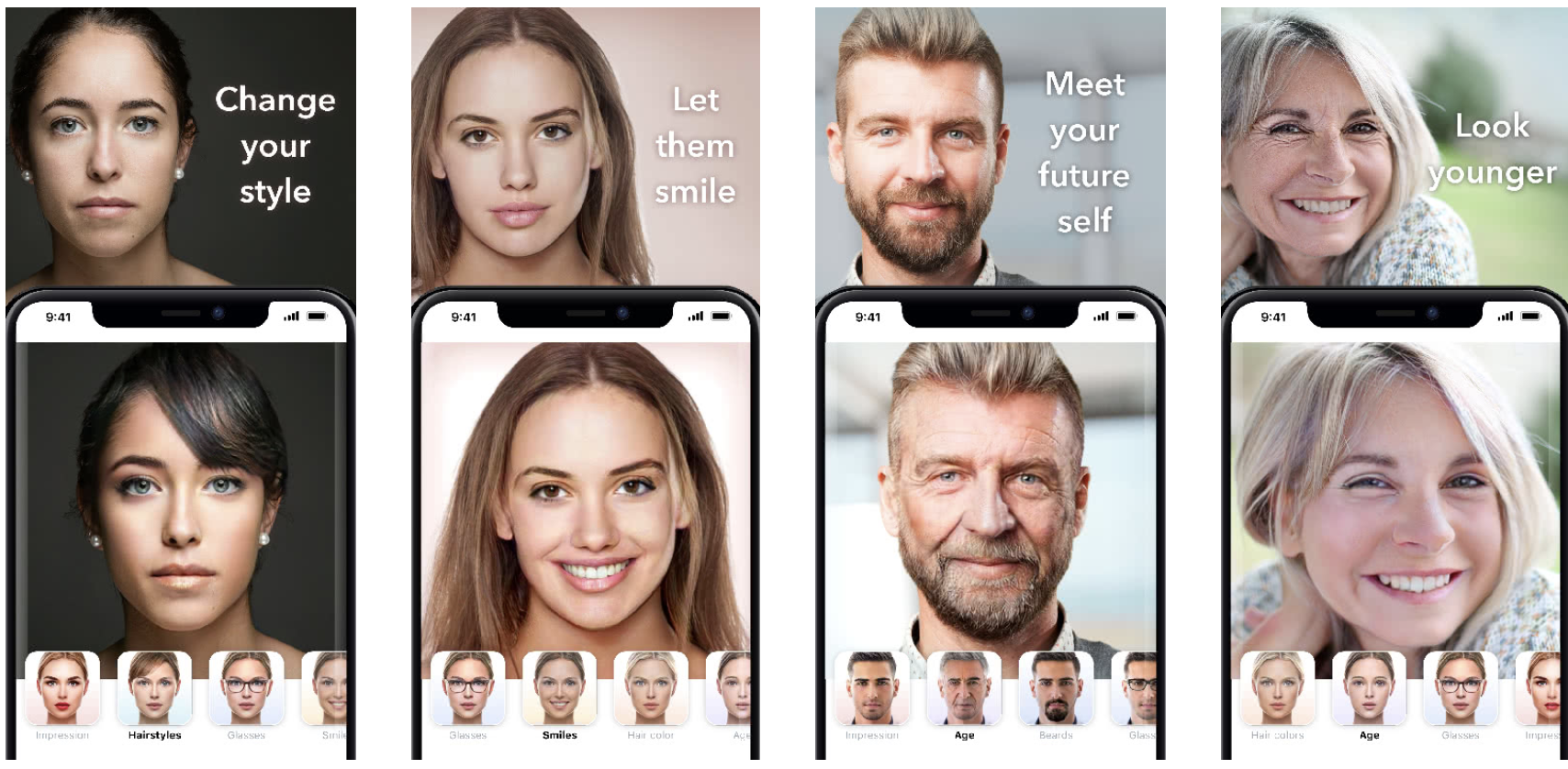 Pictures of people on FaceApp showing them at their current age and older.