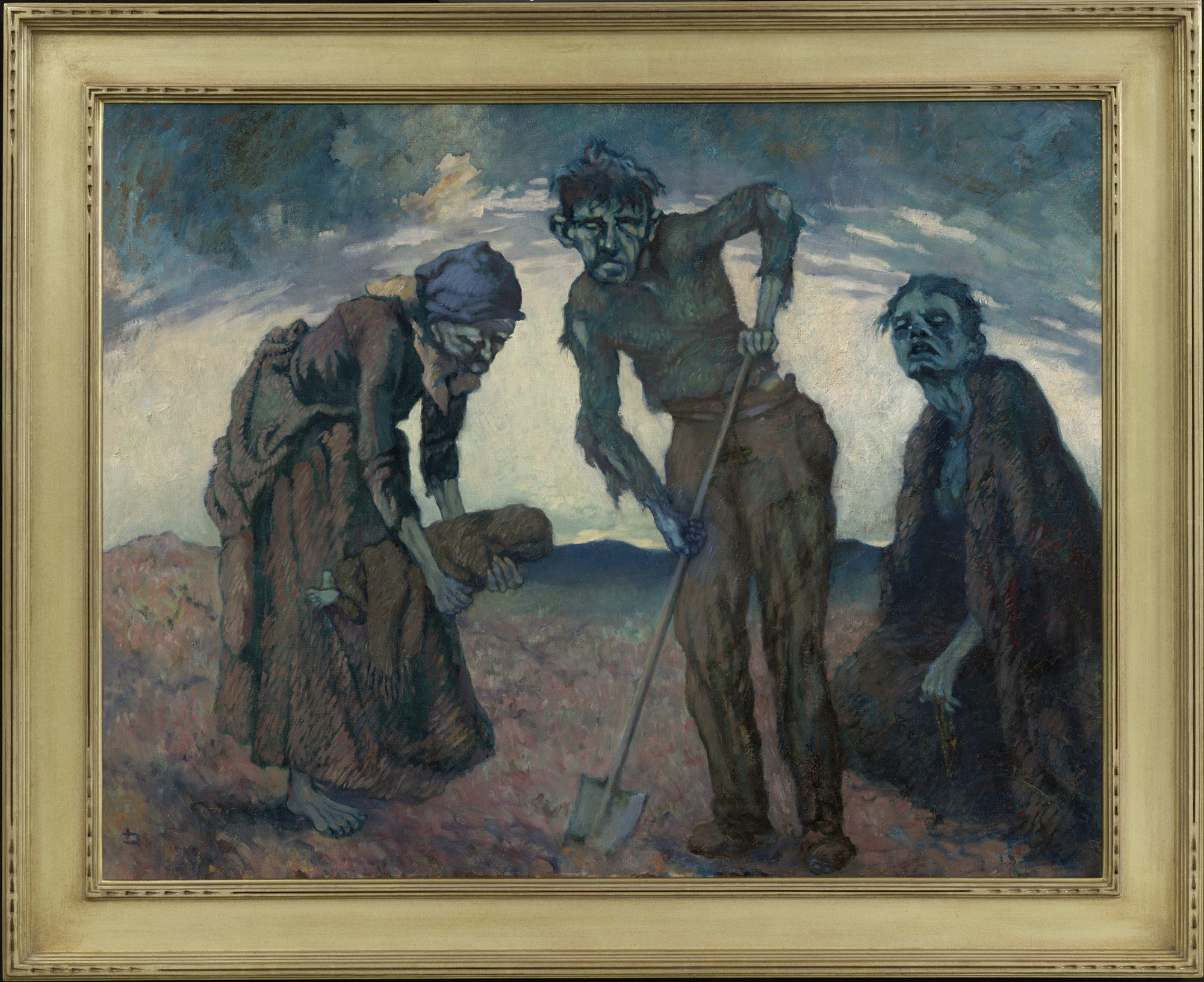 """A painting by Lilian Lucy Davidson titled """"Burying the Child,"""" is among the artwork on display in Ireland's Great Hunger Museum on the campus of Quinnipiac University in Hamden, Conn."""