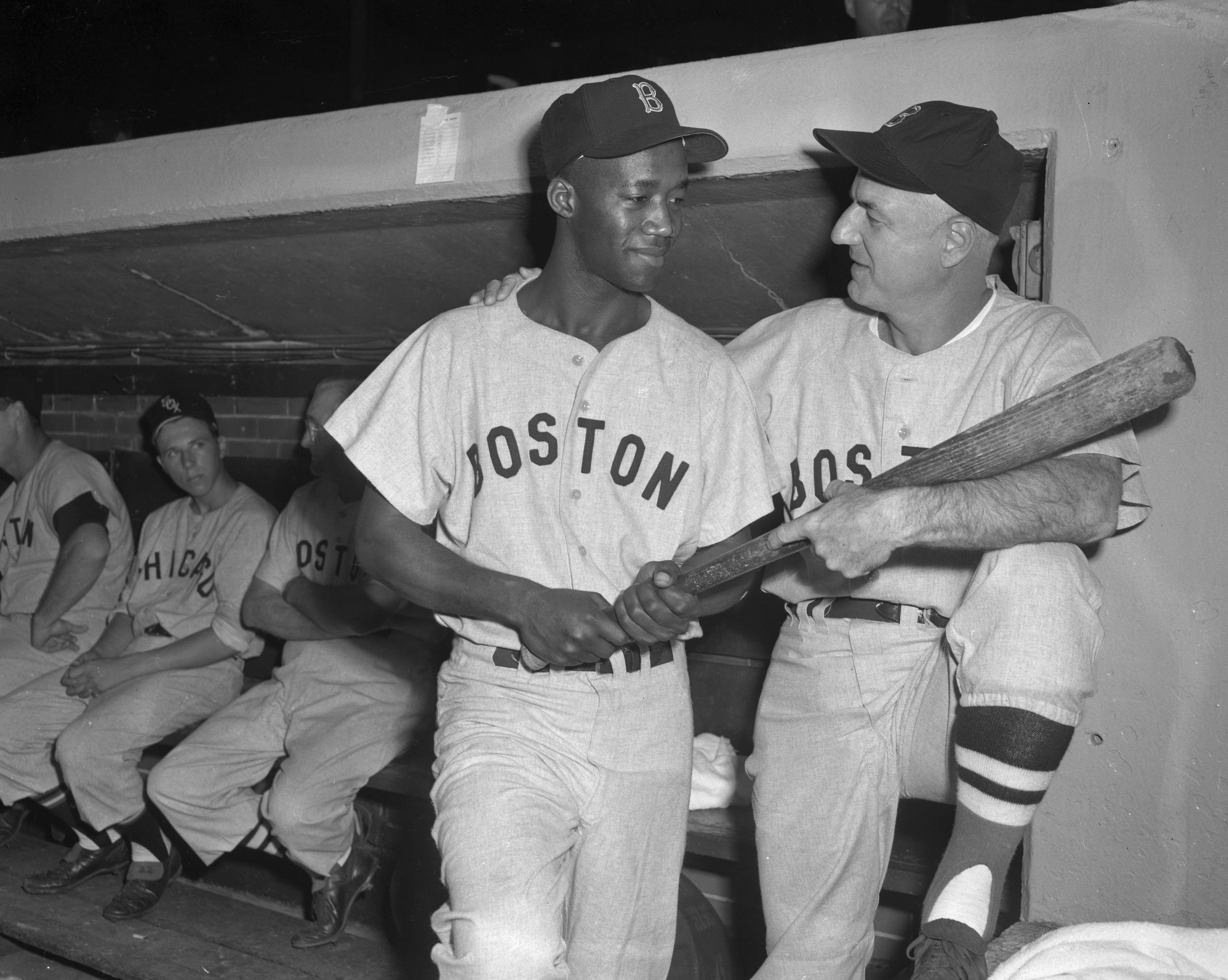 Bill Jurges and Pumpsie Green Holding Baseball Bat