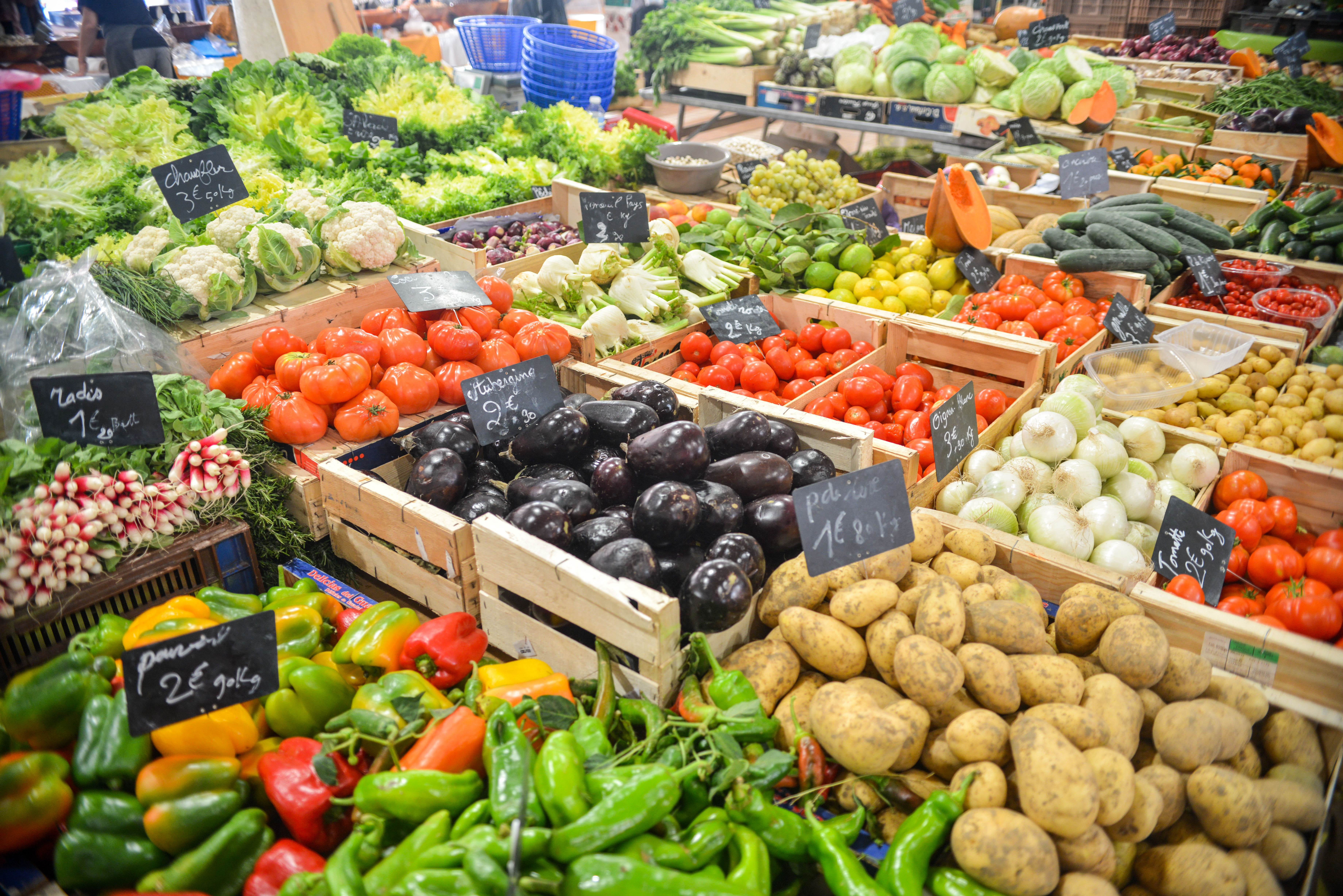 A selection of vegetables at a supermarket
