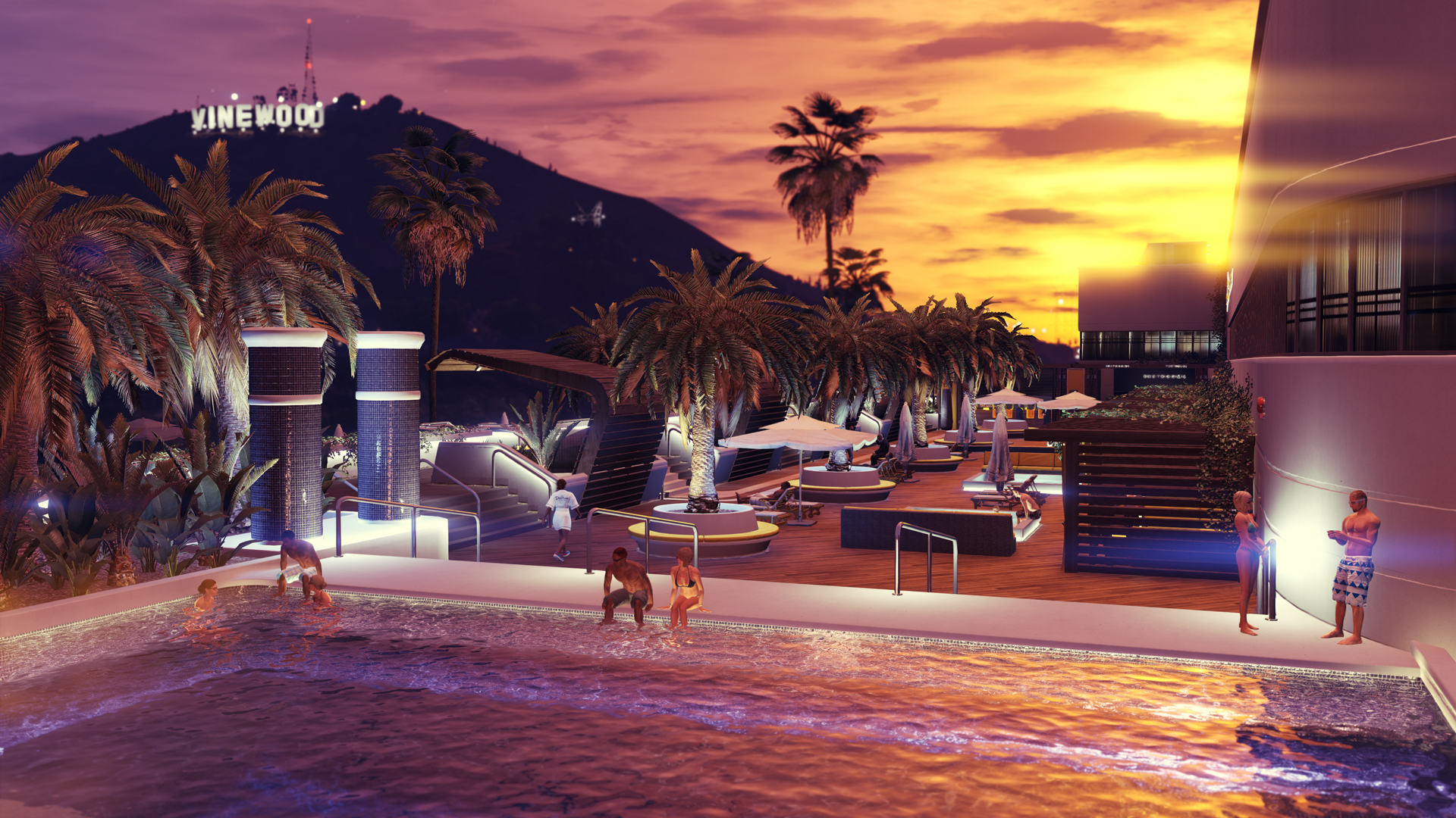 GTA Online - a lavish house with an outdoor pool at sunset, with the Vinewood sign in the background
