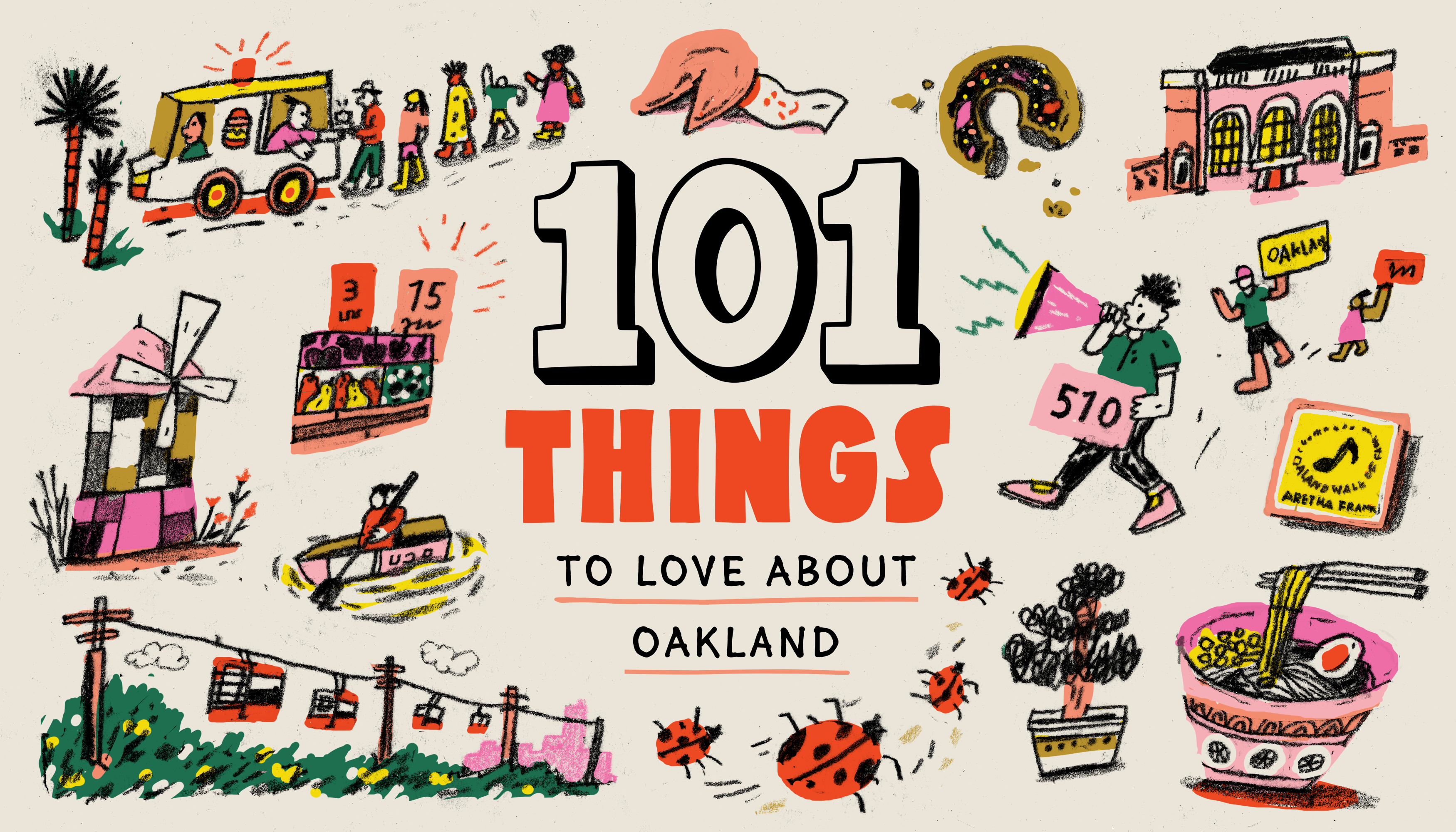 A collection of Oakland themed illustrations including ramen, a fortune cookie, and ladybugs.