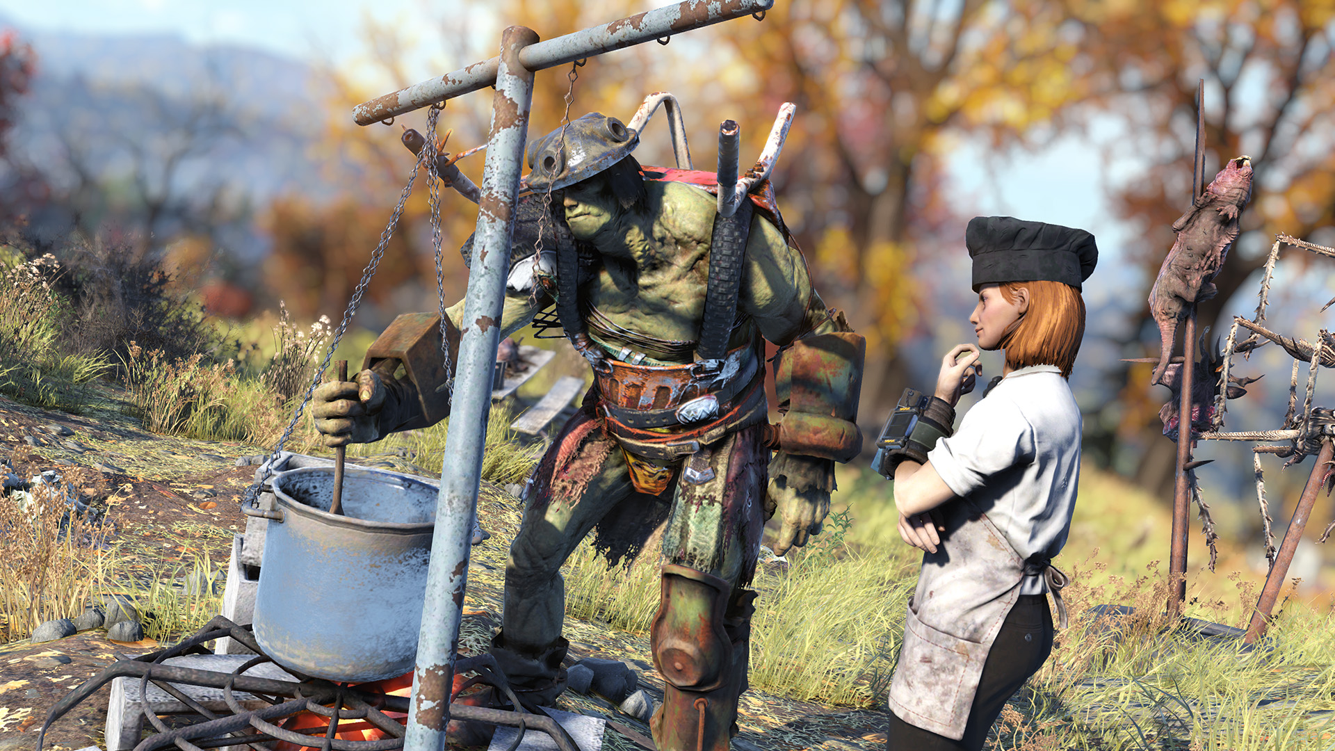 Fallout 76 - Grahm and a player barbecue some meat
