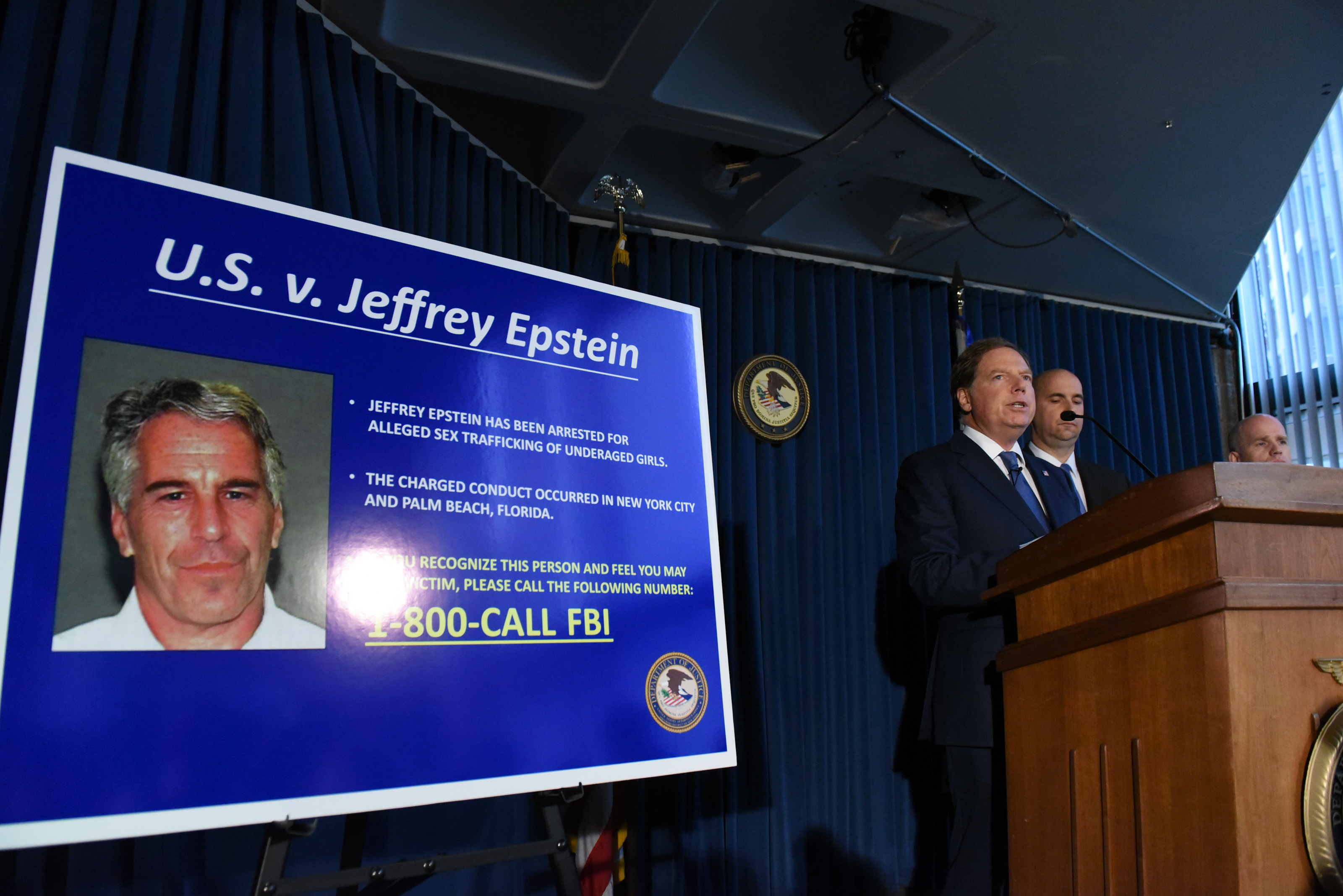 Charges are announced against Jeffrey Epstein at a press conference on July 8, 2019 in New York City