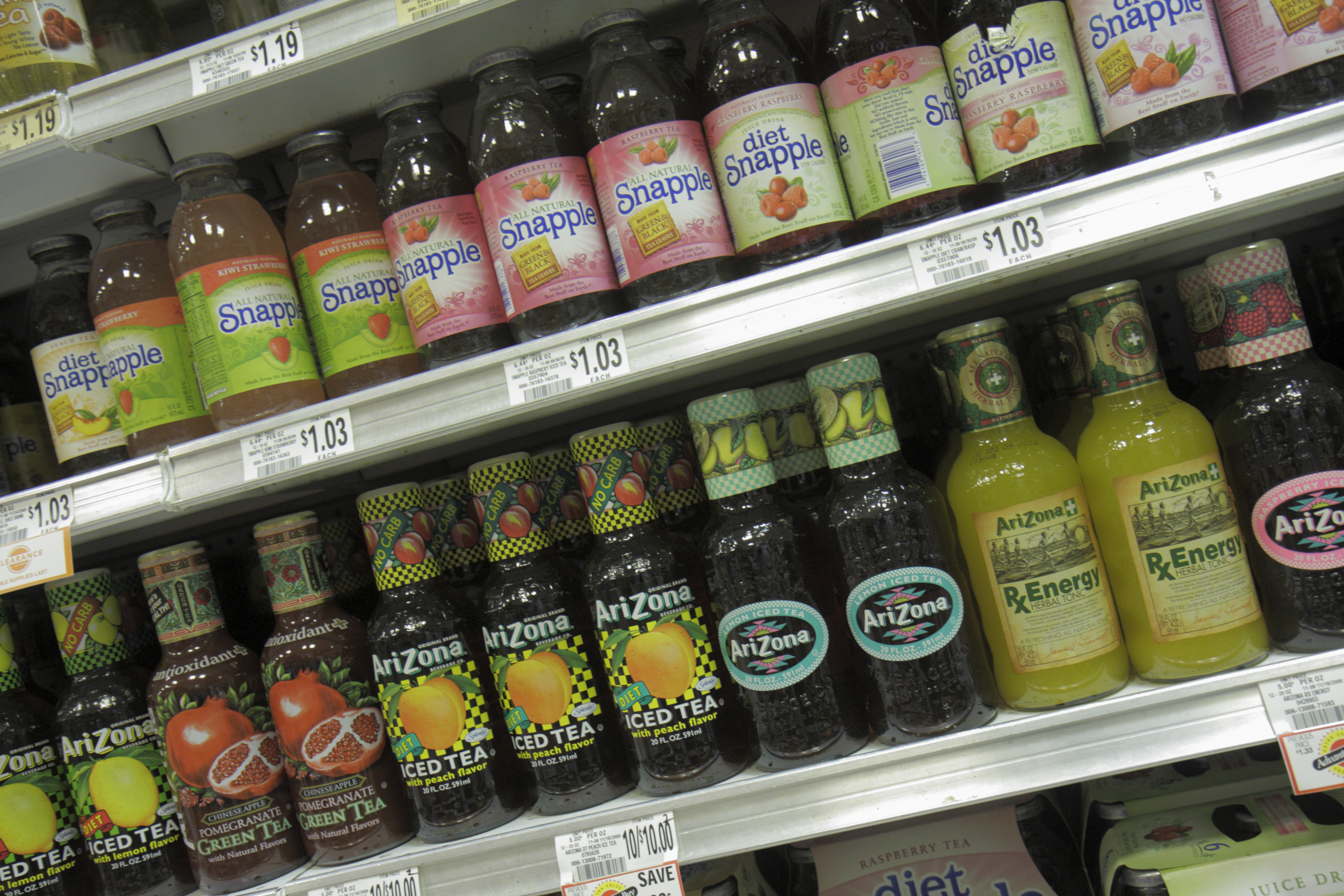Bottles of drinks for sale in Publix Grocery Store