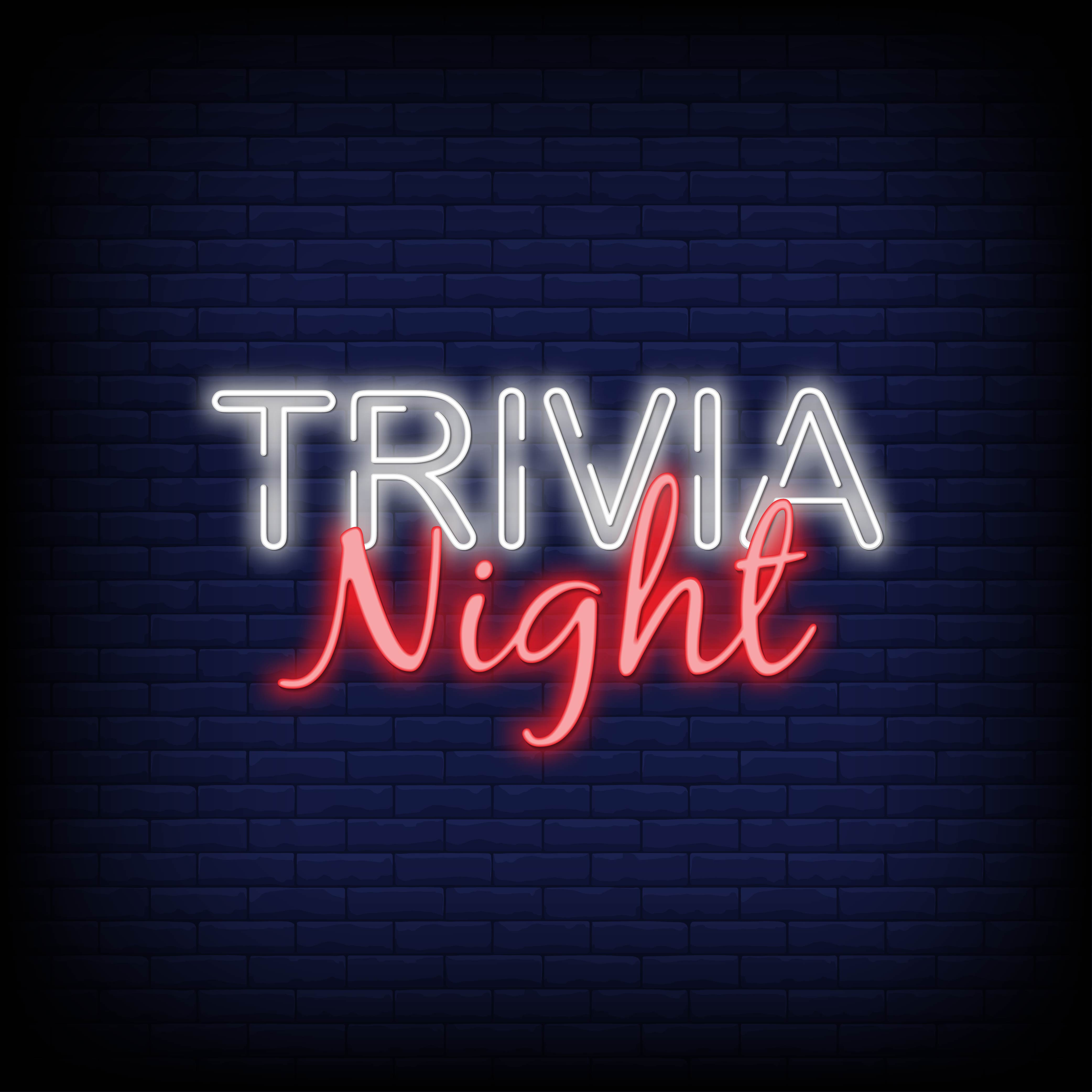 "Neon sign displaying the words ""Trivia Night"""