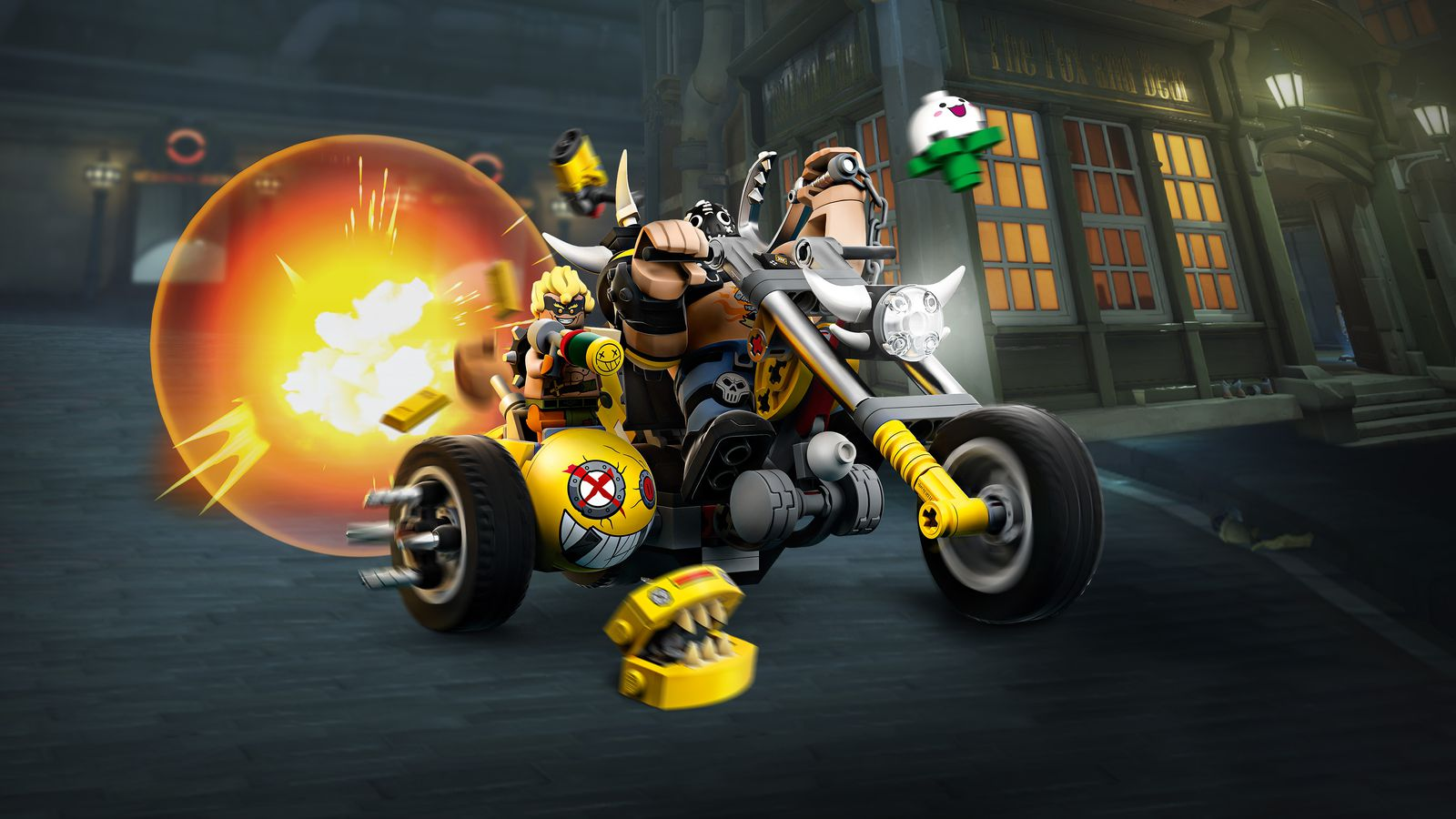Lego versions of Overwatch's Junkrat and Roadhog riding a Lego motorcycle