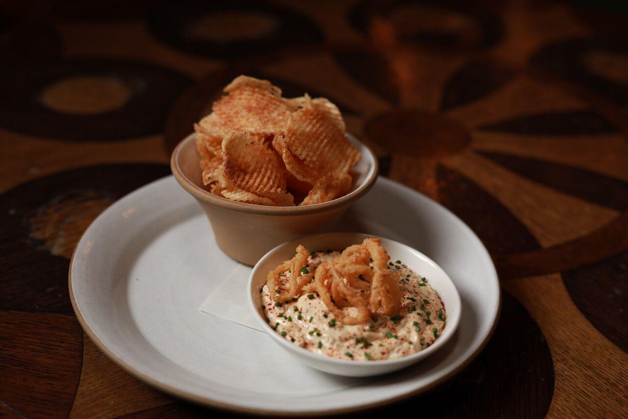 Temple Court's caramelized onion dip with gaufrette potatoes