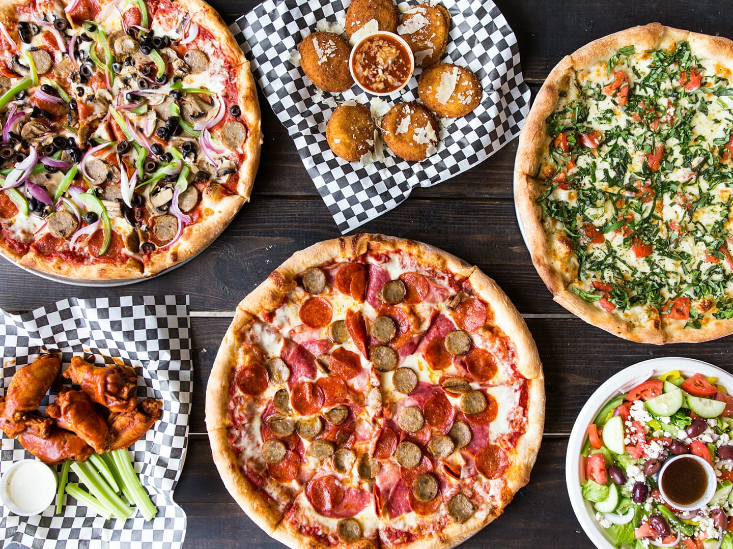 Pizza and sides from Brooklyn Pie Co. in San Marcos