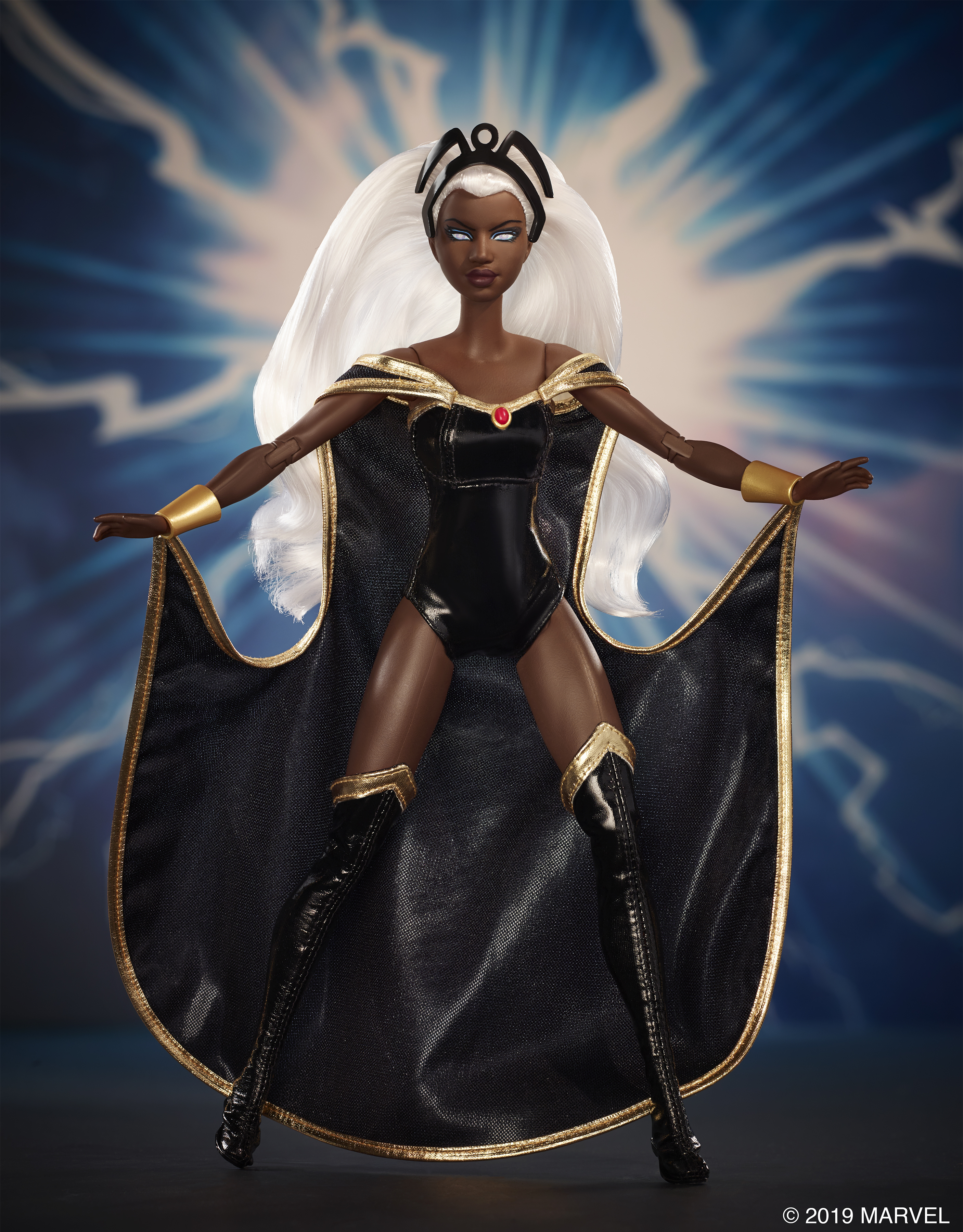 A Storm Barbie posed against a blue lightning background
