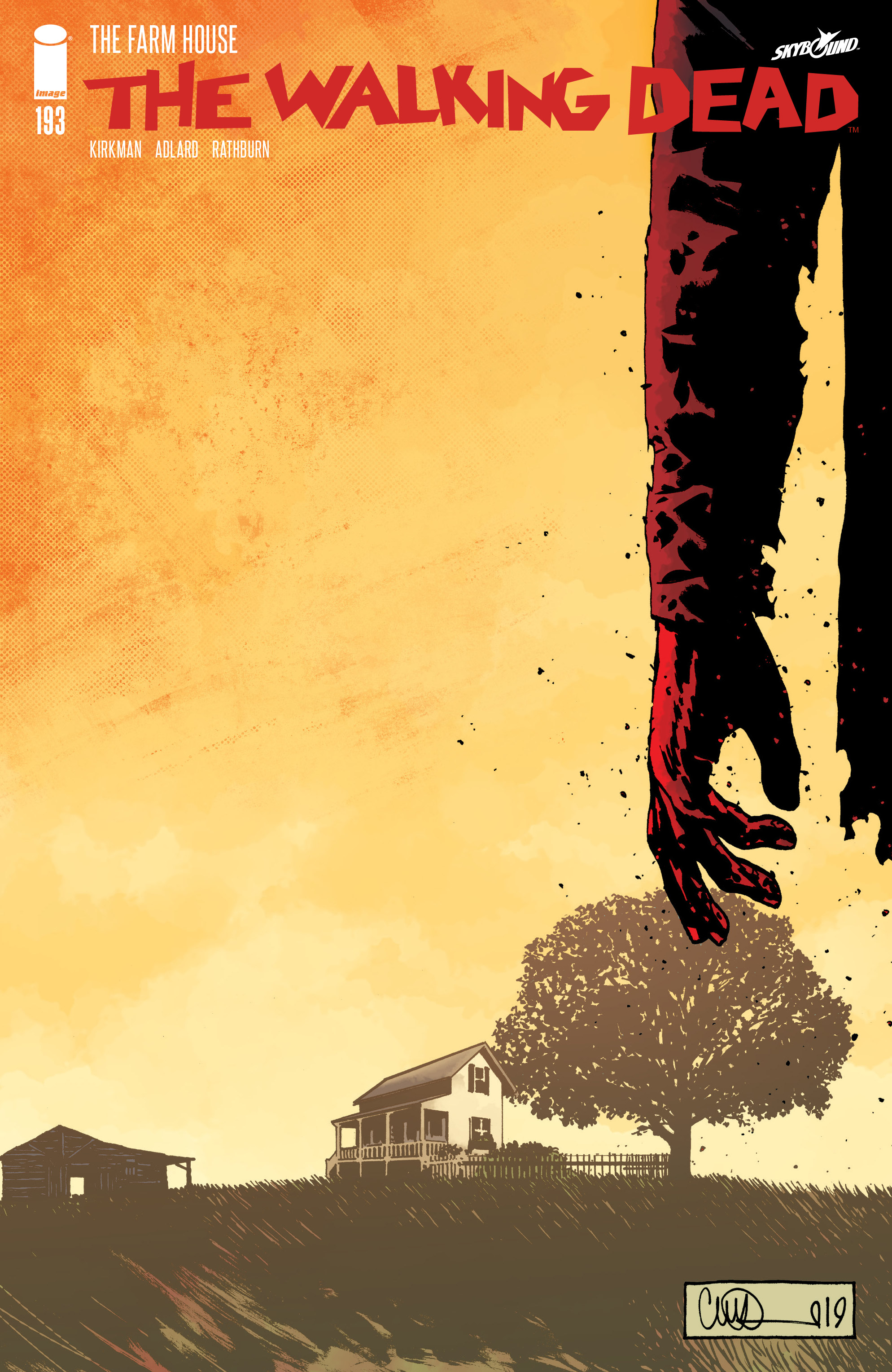 the cover of The Walking Dead #193, the final issue of the series: a zombie hand with a farmhouse in the background