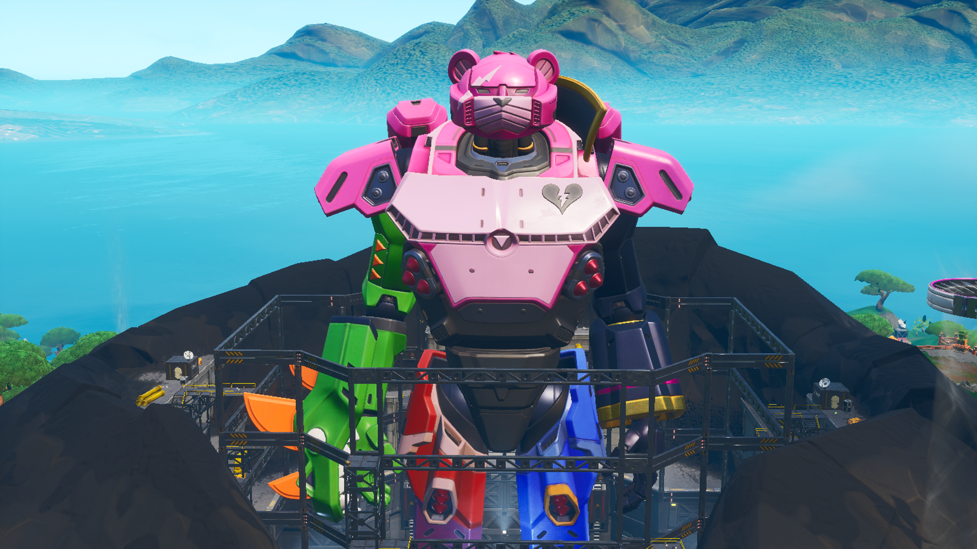 A giant mech that that has elements of some of Fortnite's different skins