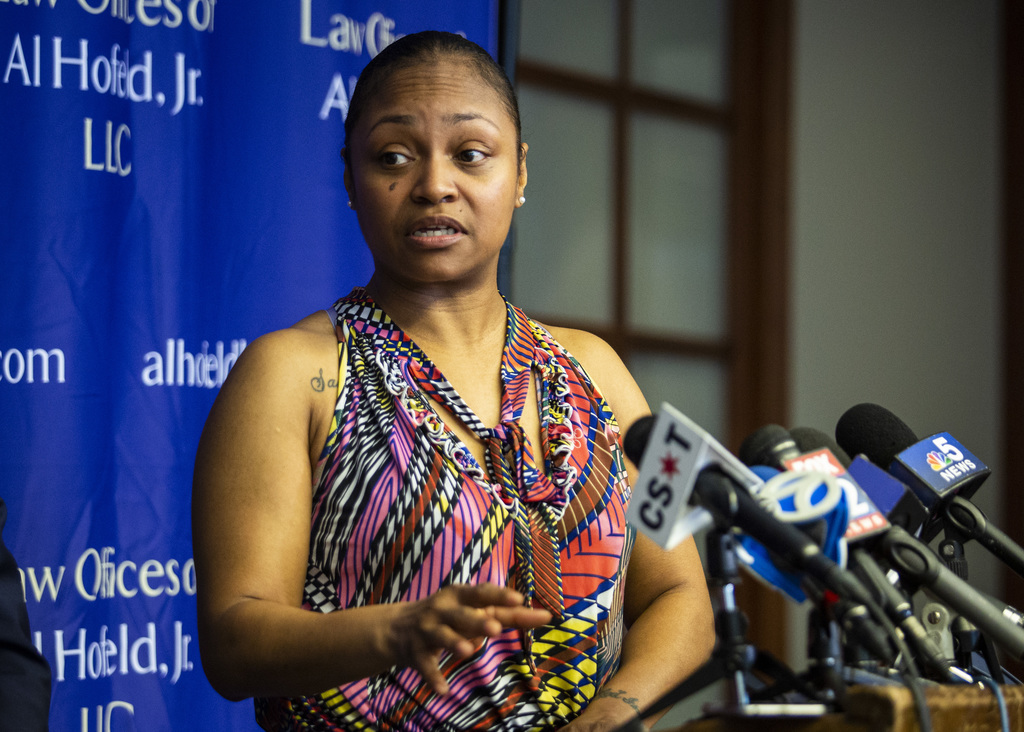 Krystal Archie speaks about Chicago police executing three search warrants in four months at her South Side home, during a press conference at the law offices of her attorney Al Hofeld, Jr., Friday morning, July 19, 2019.