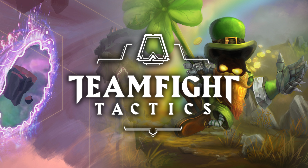 Leprechaun Veigar overlayed with the Teamfight Tactics logo and background to spread some good luck, hopefully.
