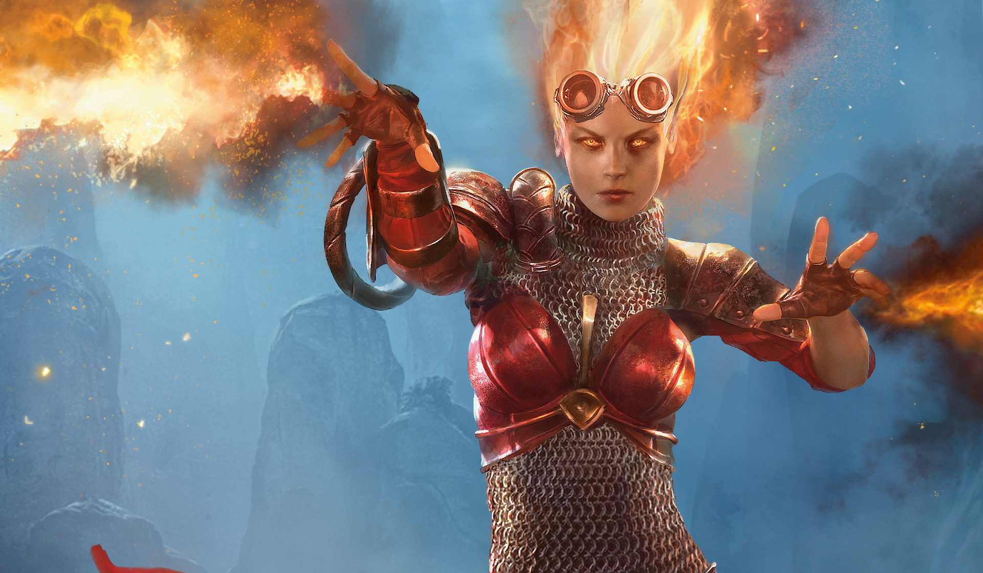 Planeswalker Chandra Nalaar wielding her trademark fireballs. Here hair is aflame, and a pair of welding goggles is on her forehead.