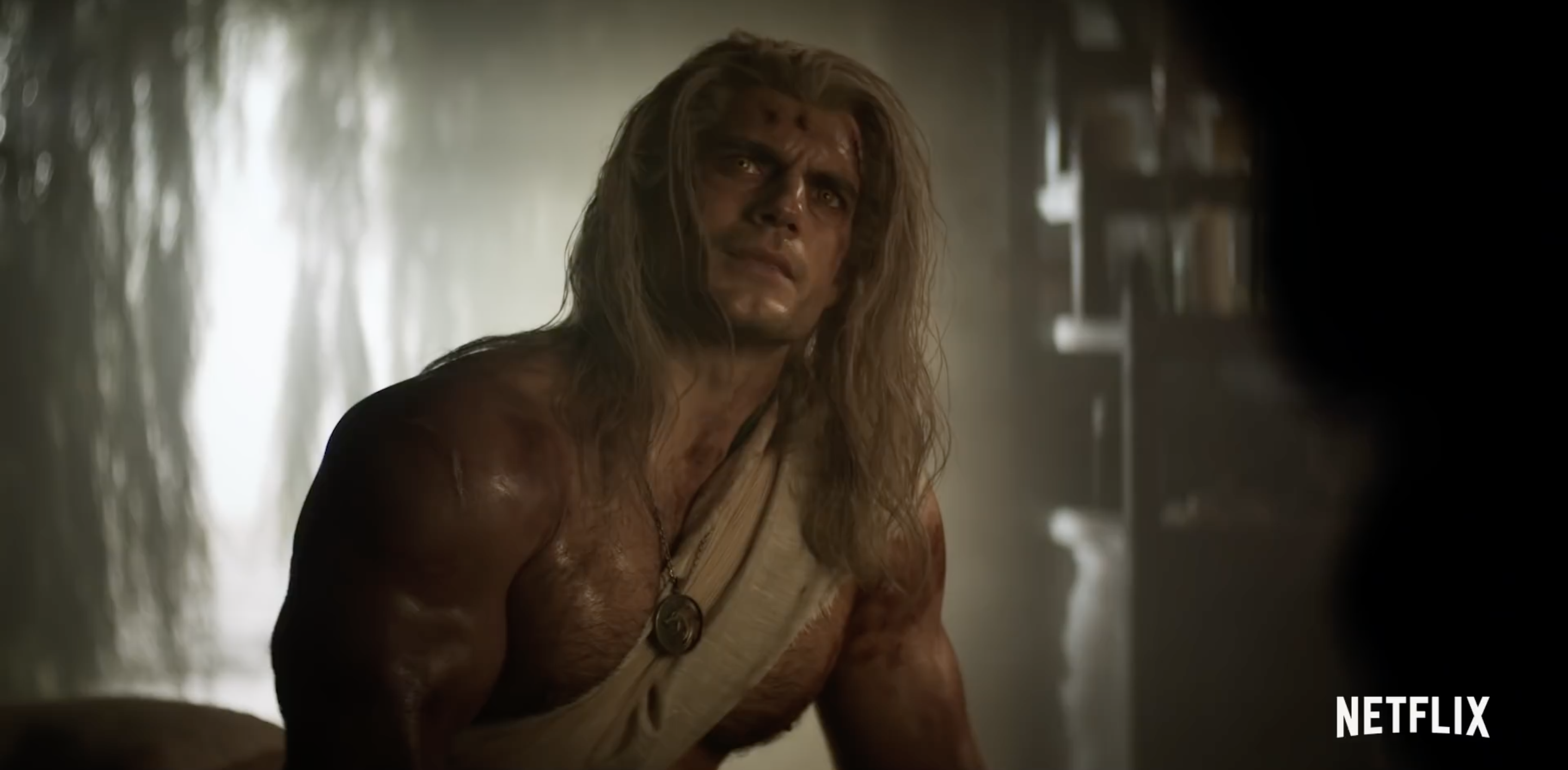 Henry Cavill as Geralt in The Witcher, he is shirtless and RIPPED baby