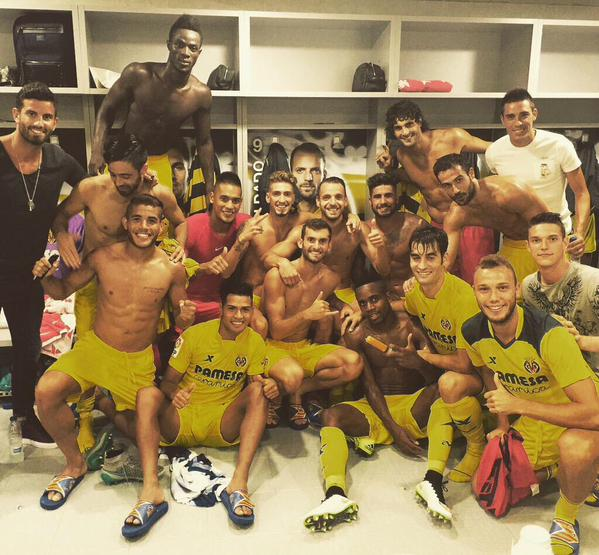 Villarreal players celebrate victory!