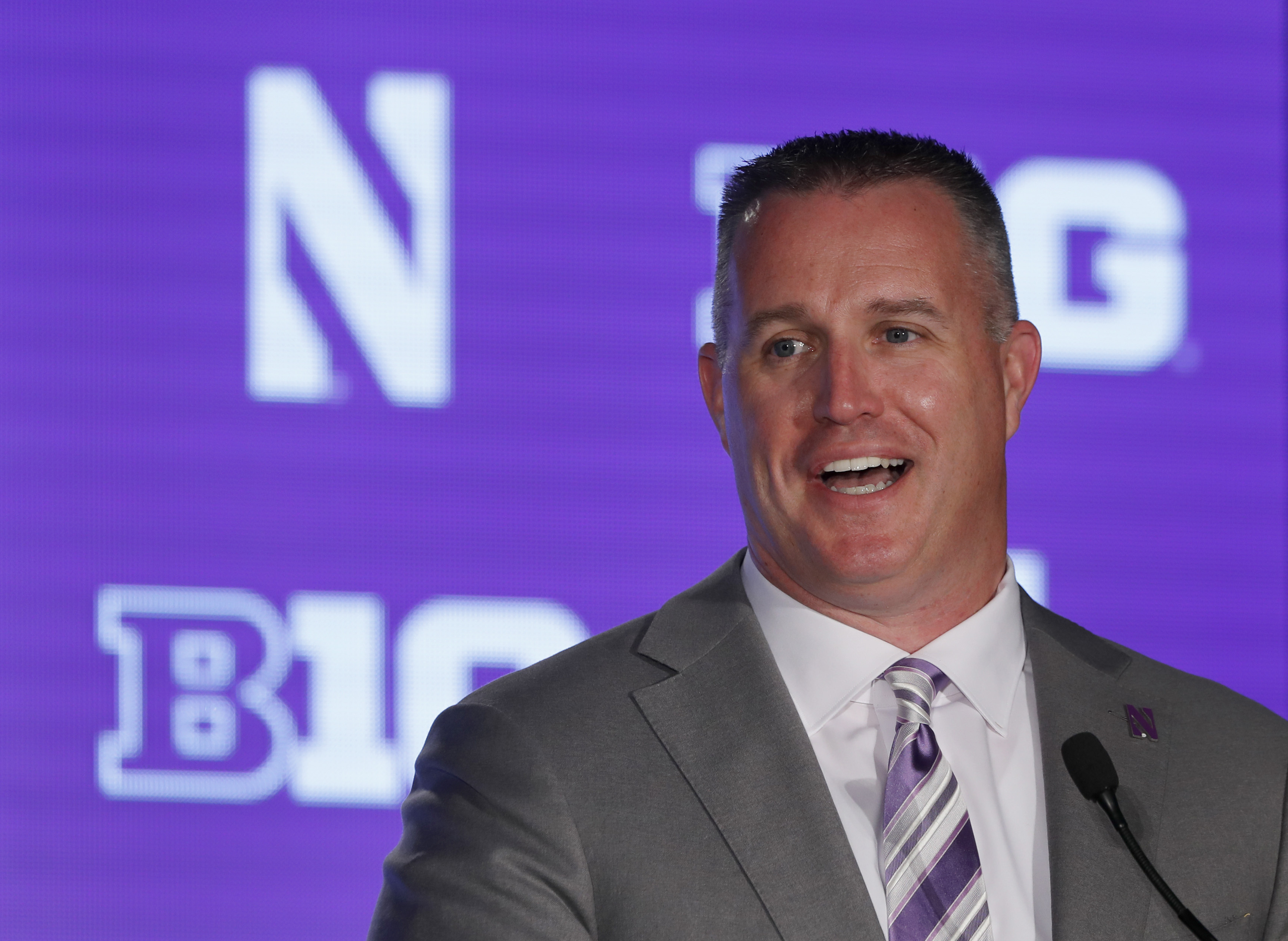 Northwestern head coach Pat Fitzgerald responds to a question during the Big Ten Conference NCAA college football media days Friday, July 19, 2019, in Chicago.