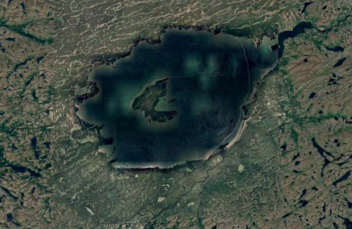 A satellite photo of Mistastin Lake in Canada.