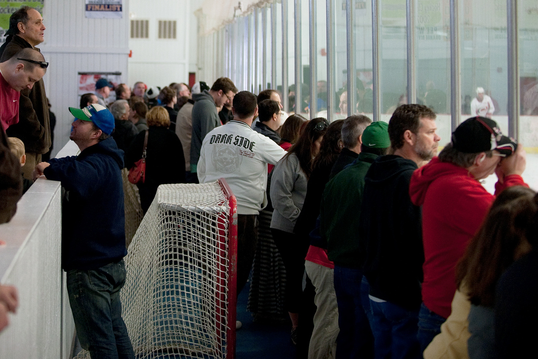 Standing room only at Raleigh Center Ice for Canes practice - January 12, 2013.