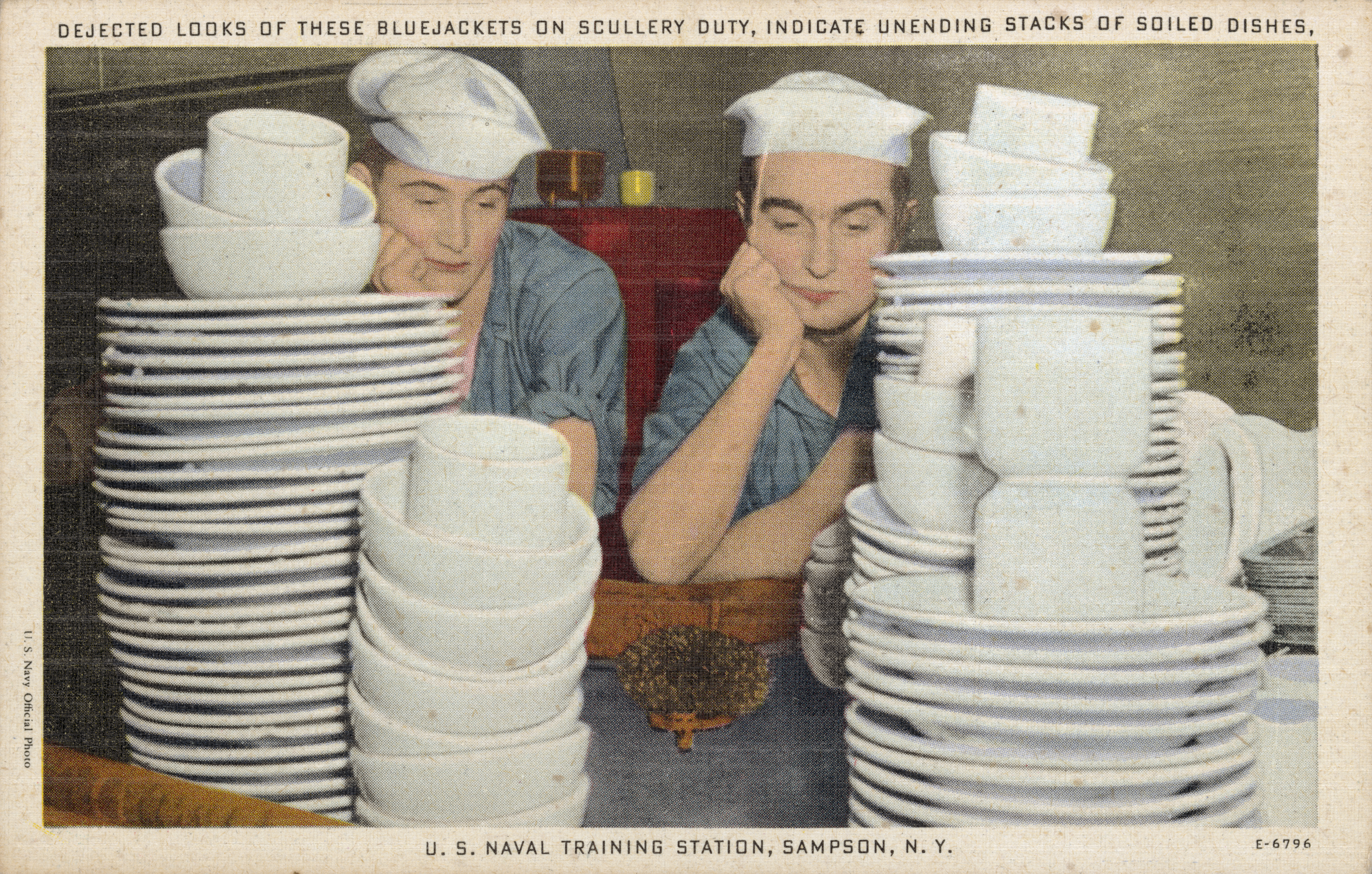 Postcard of Sailors and Stacks of Dishes