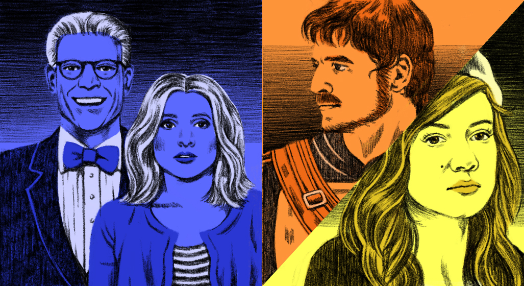 An composite illustration of Ted Danson and Kristen Bell in The Good Place TV show, Pedro Pascal in The Mandalorian, and Mandy Moore in This Is Us.