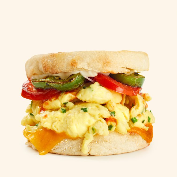 A sandwich with a plant-based egg.