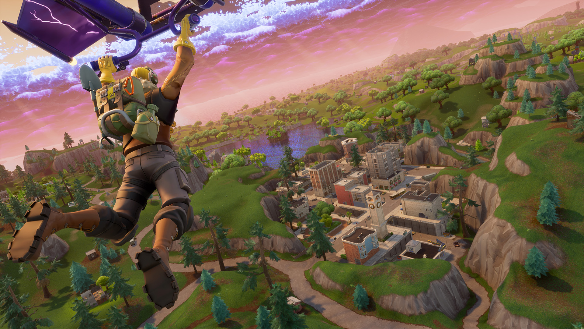Fortnite - a character rides a glider into a town