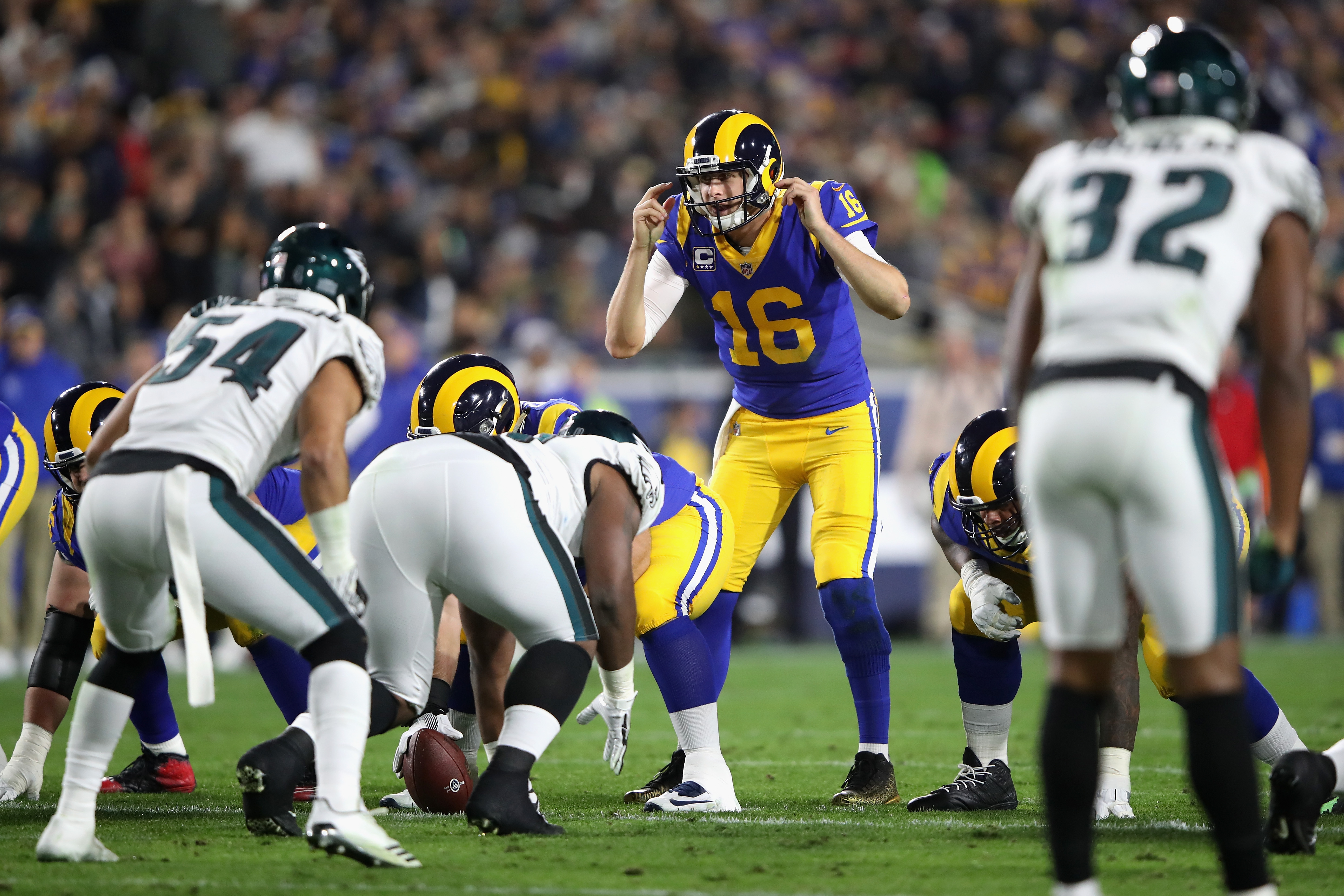 Los Angeles Rams QB Jared Goffadjusts a play at the line during the first half of a game against the Philadelphia Eagles, Dec. 16, 2018.