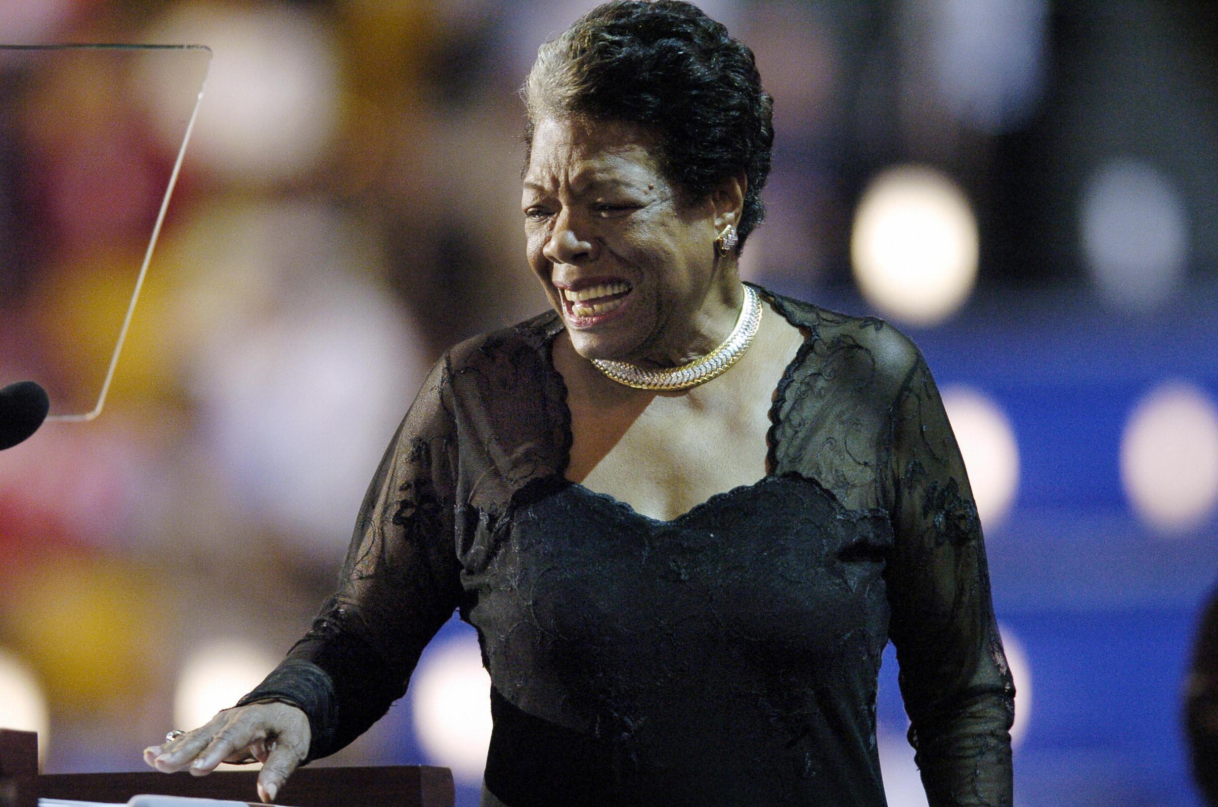 Poet and activist Maya Angelou addresses