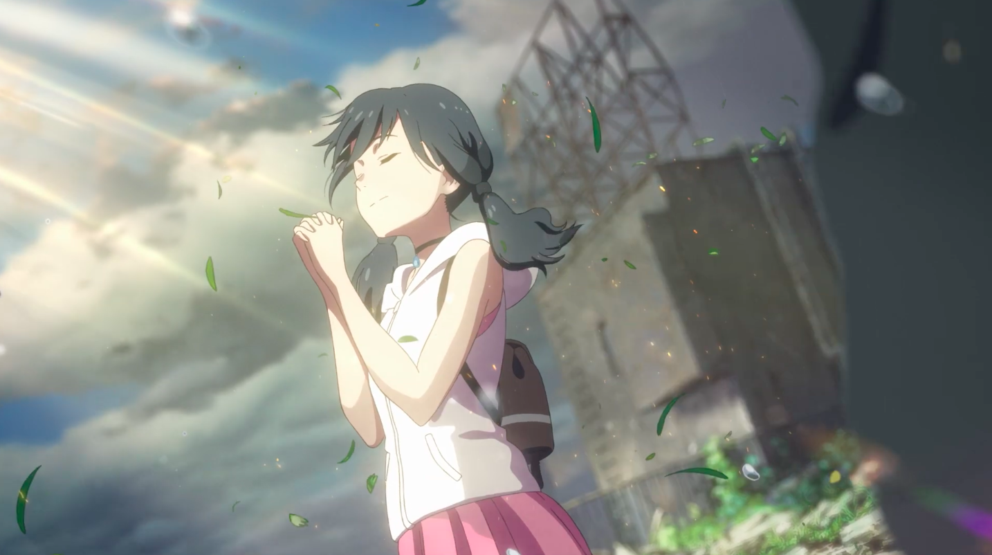 a girl in a pink skirt and tank top clasps her hands, closes her eyes, and looks up toward the sky in Weathering With You