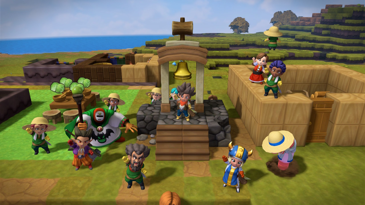 A handful of happy farmers celebrate in front of a large bell in Dragon Quest Builders 2