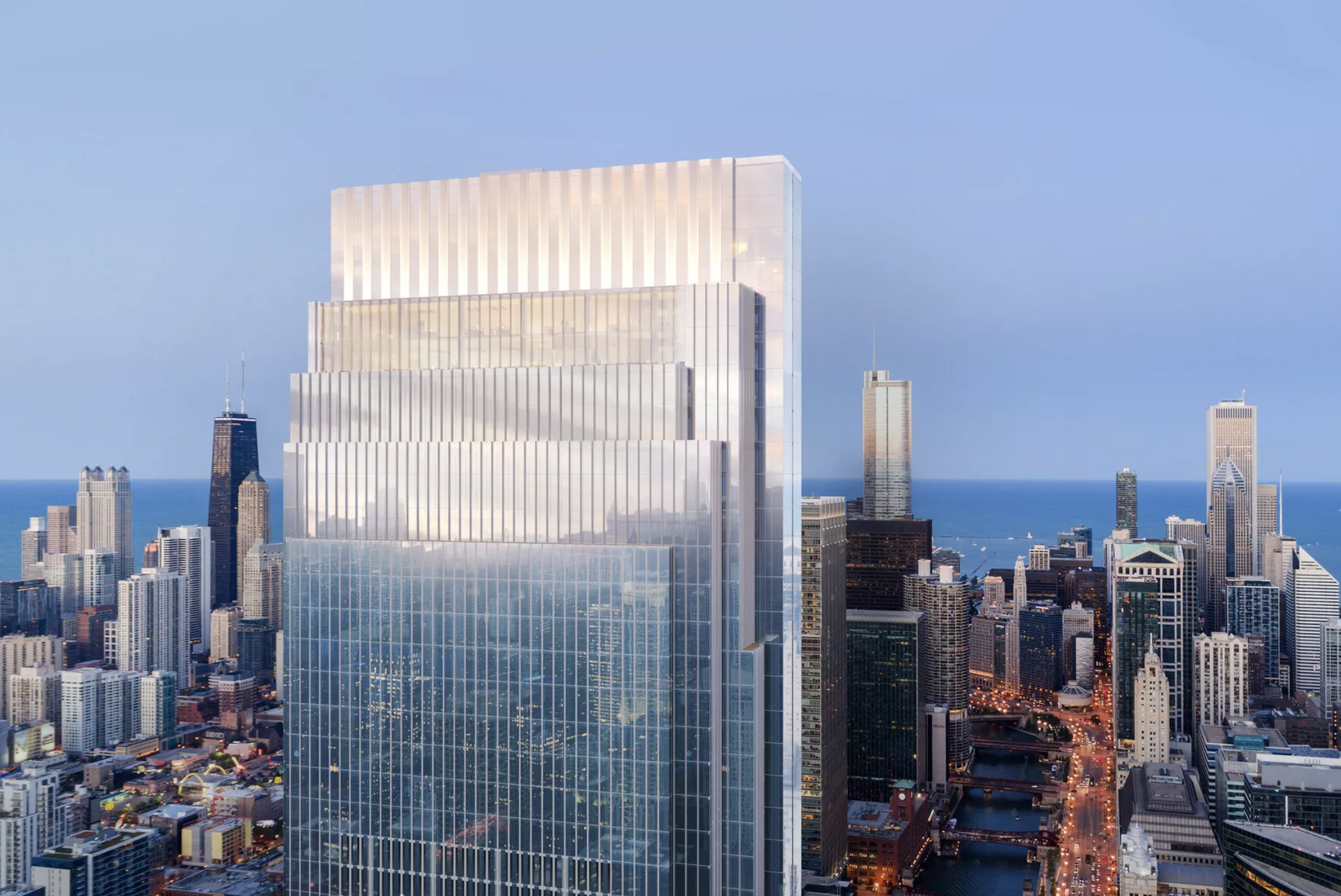 Tall skyscrapers in Chicago. In the foreground is a skyscraper with a square top and glass facade.