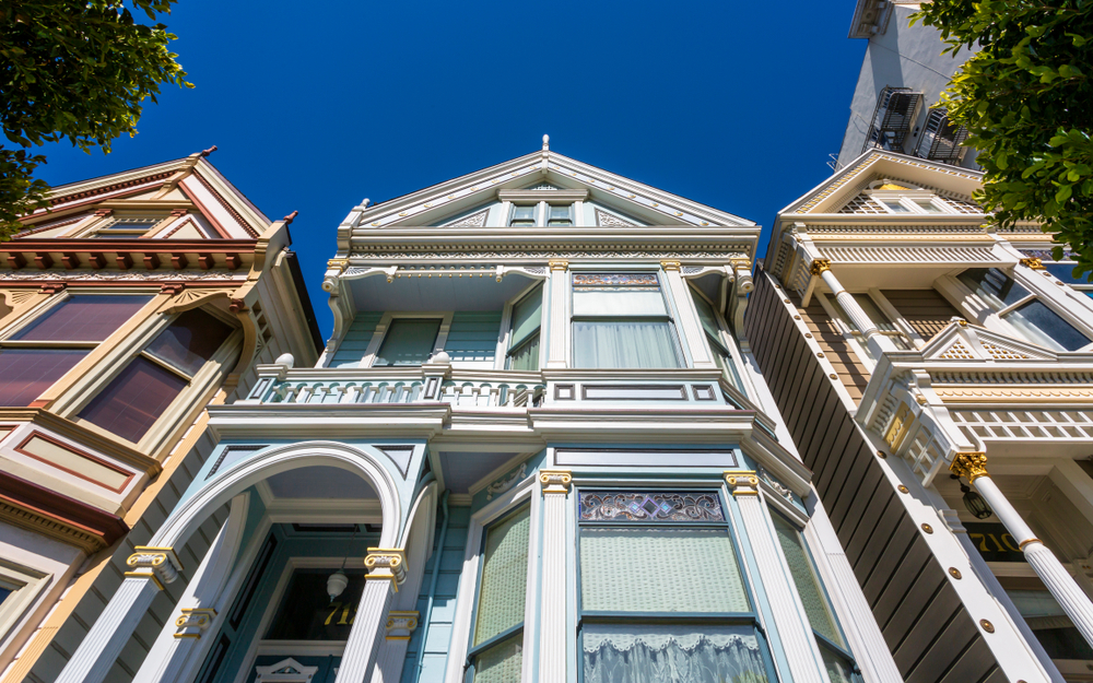 A low-angle photo of Painted Ladies in San Francisco.