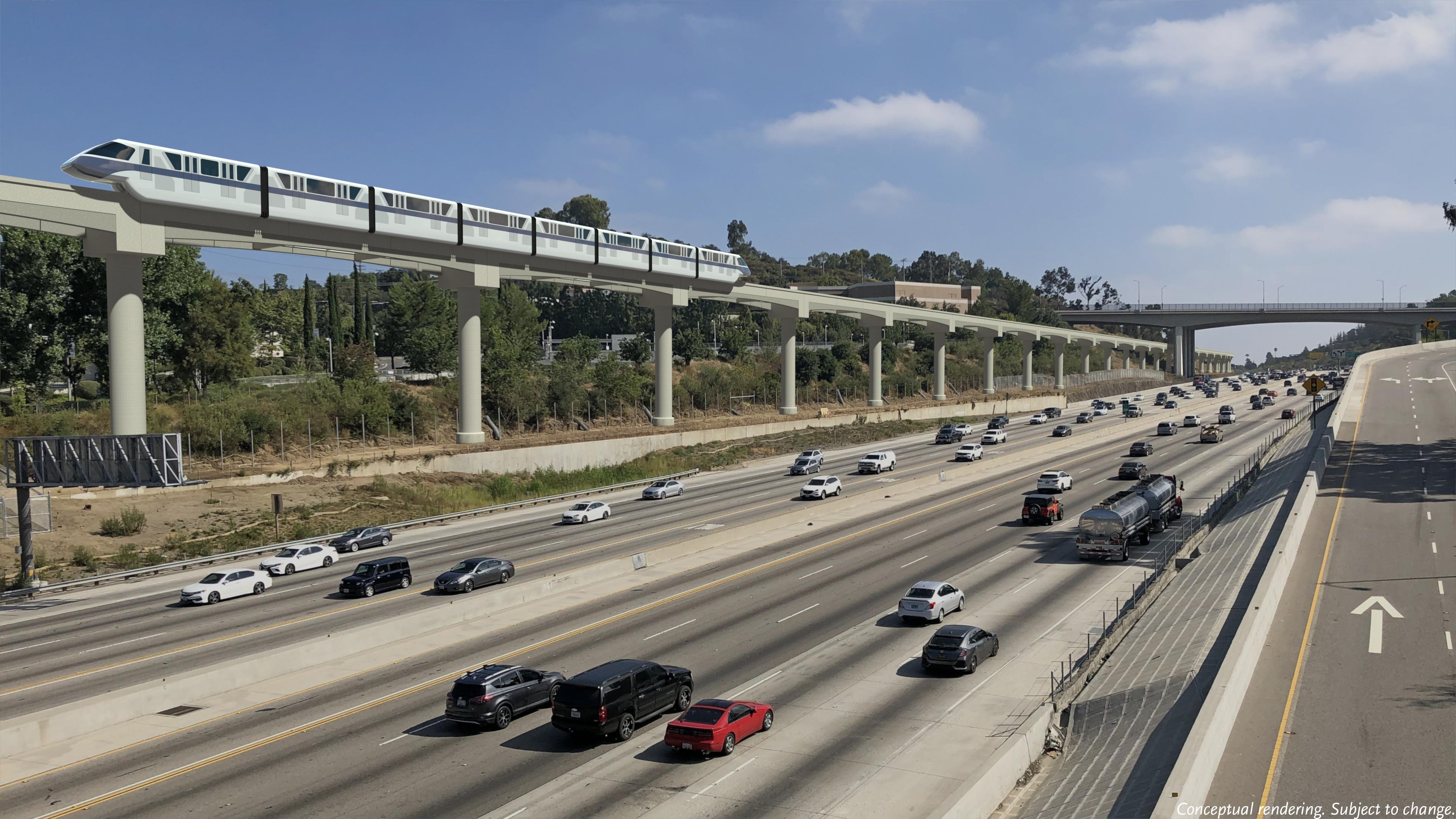 Monorail alongside 405 freeway