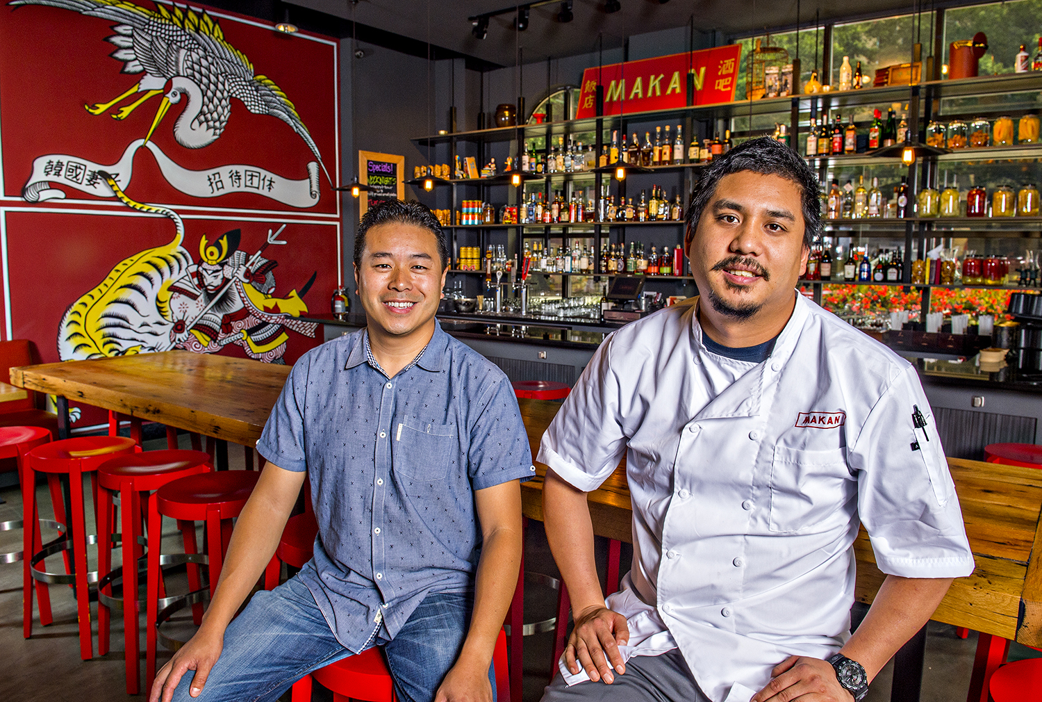 Michael Lo [left], and George Yu at Makan in Decatur.