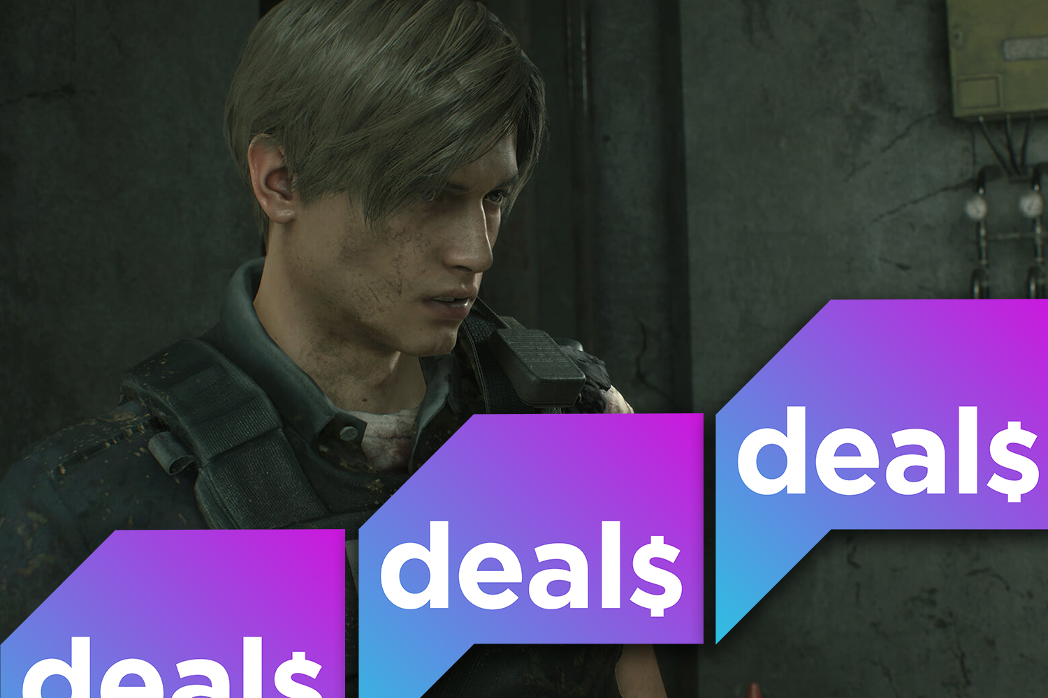 A screenshot of Leon from Resident Evil 2 with the Polygon Deals logo
