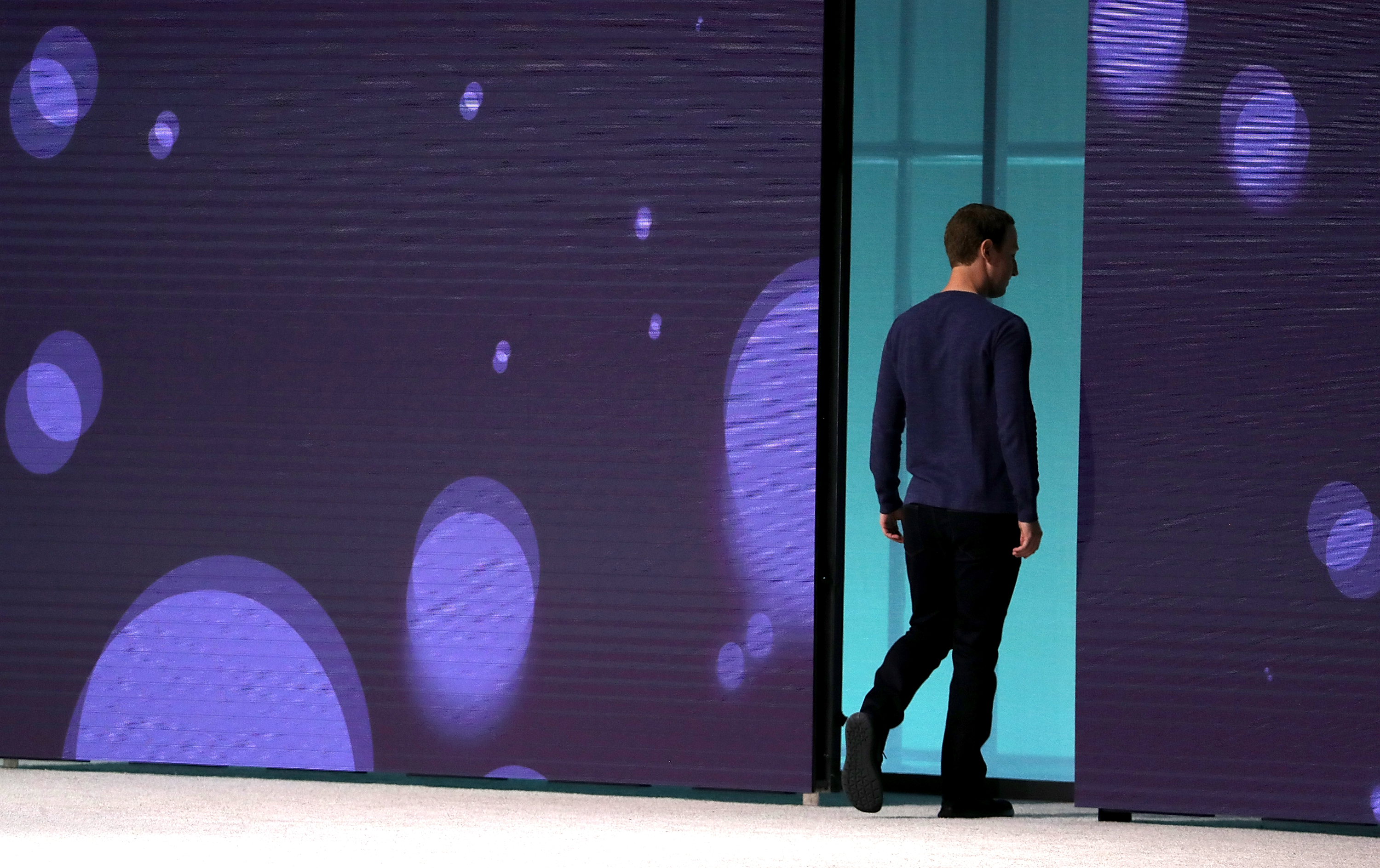 Facebook Mark Zuckerberg walks off stage after speaking during Facebook's F8 developers conference in California in May 2018.