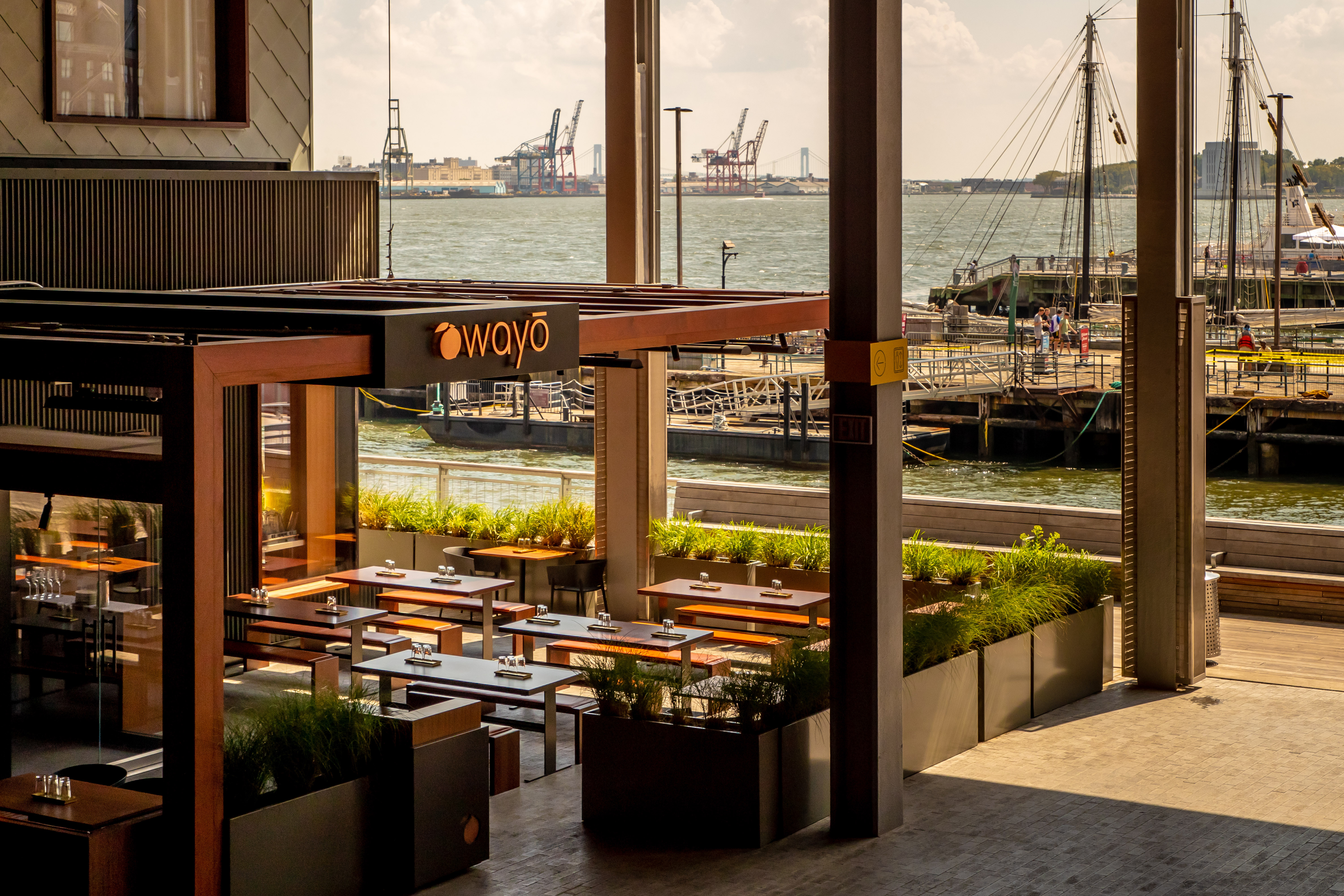 Bar Wayo and the harbor beyond, with ships in the background
