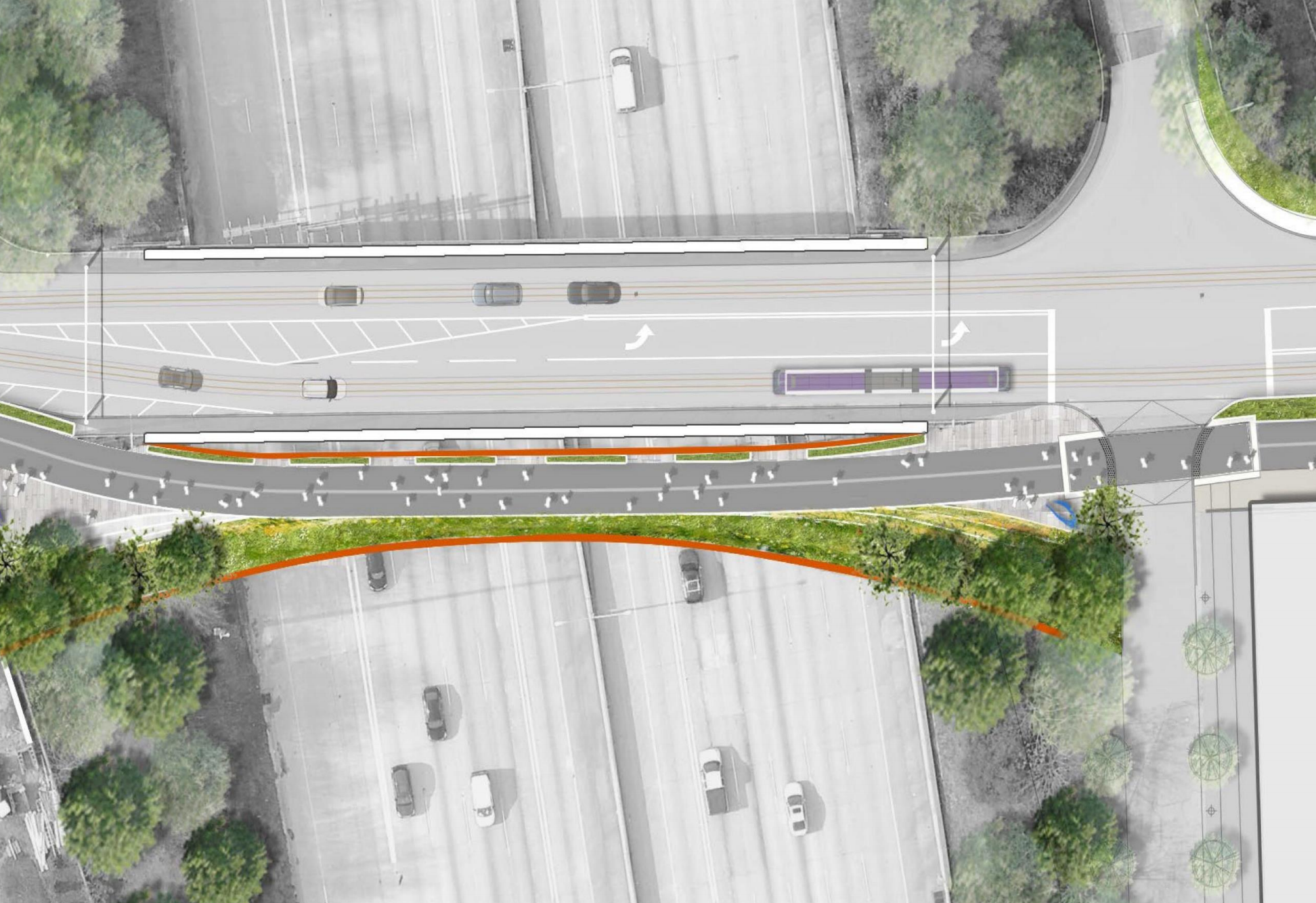 a rendering of the pedestrian bridge