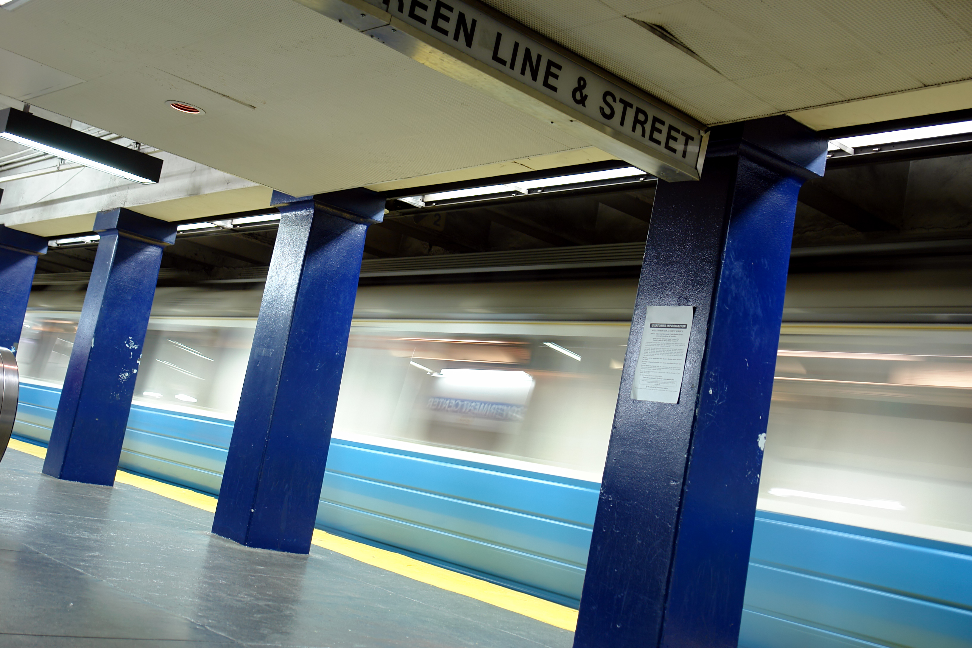 A photo of a Blue Line platform in Boston