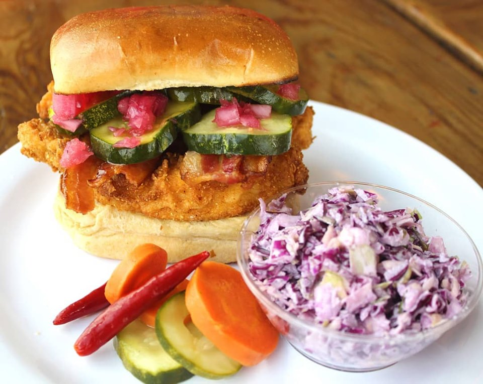 Fried chicken sandwich from Pickle House