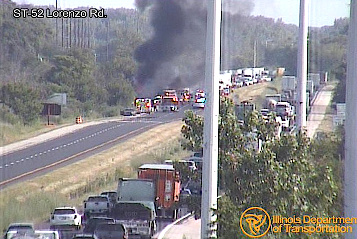 A traffic camera captures the scene of a fiery crash on I-55 near Channahon on July 25, 2019.