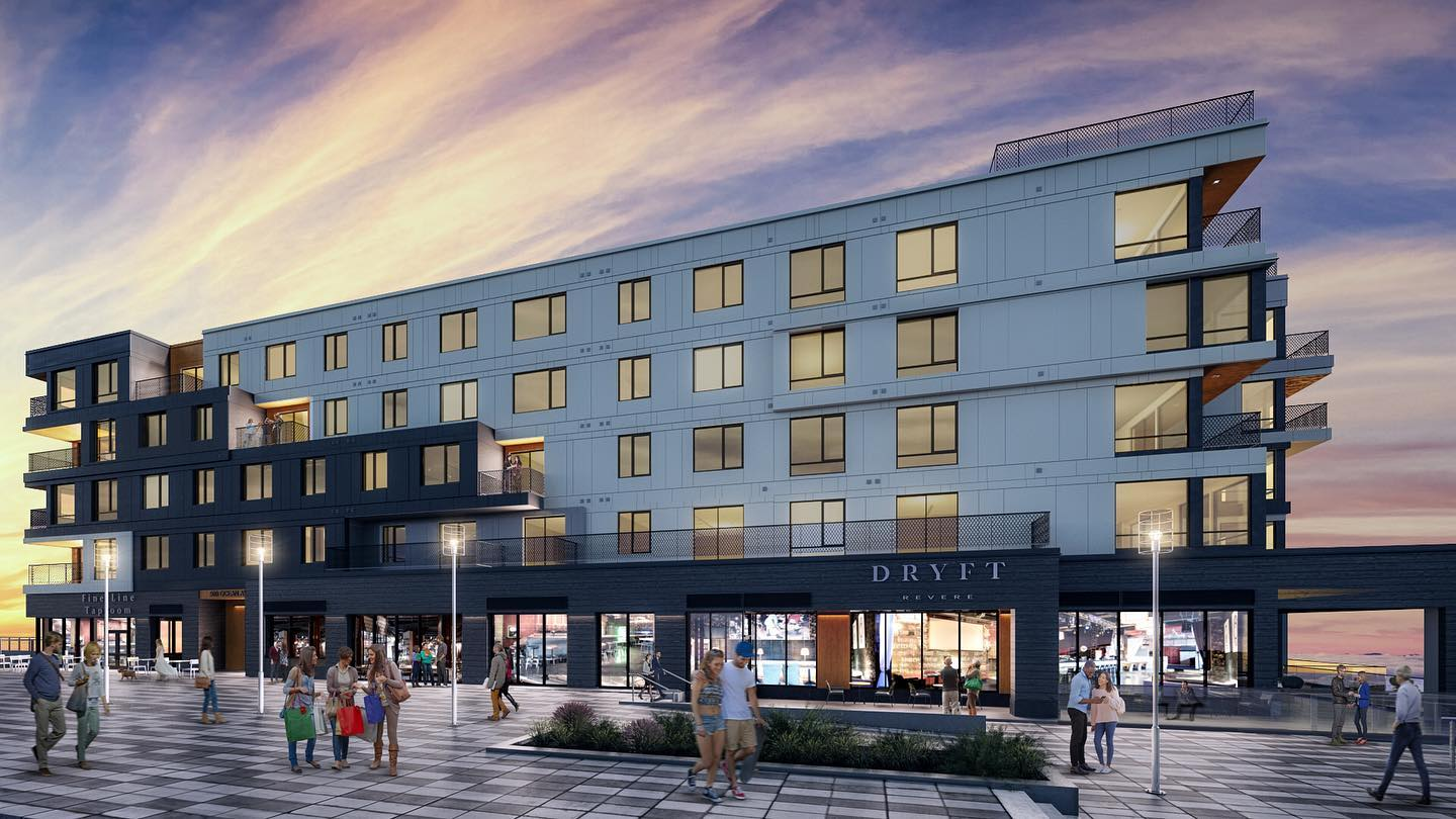 A rendering shows a modern apartment building with pedestrians and a corner restaurant called Dryft