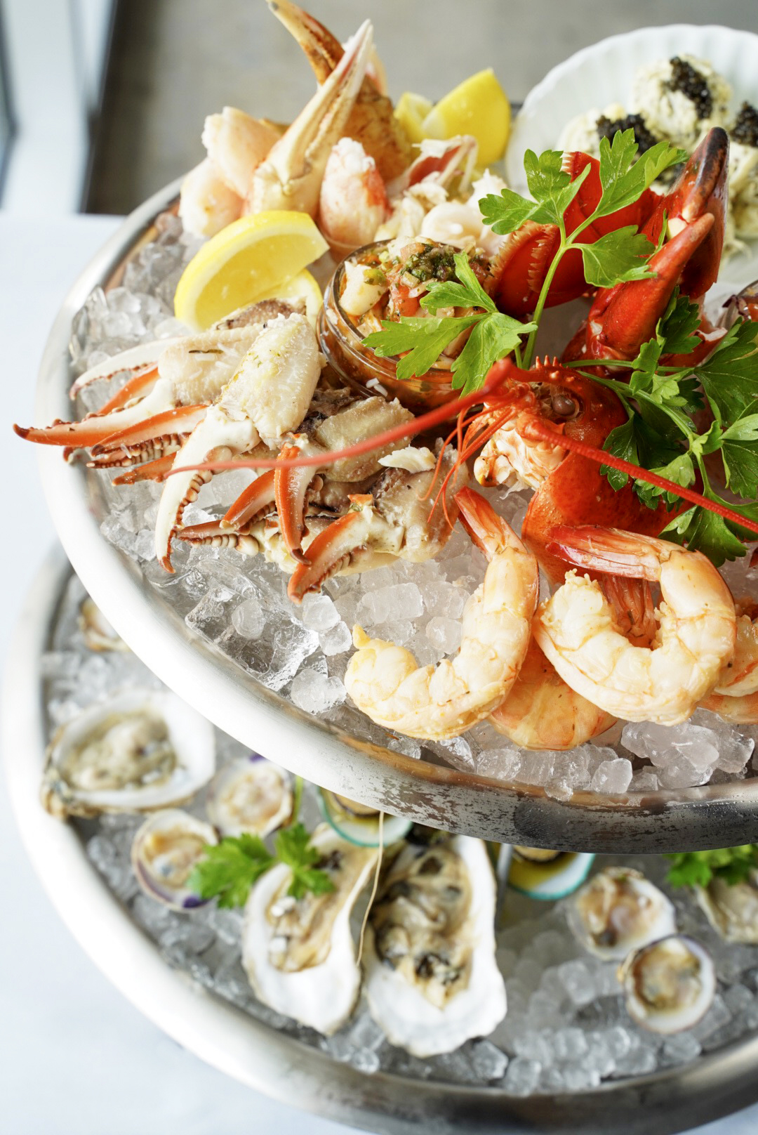 Seafood tower with shrimp and crab