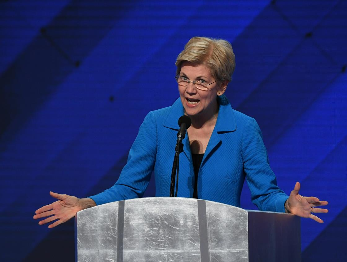 Elizabeth Warren at a podium