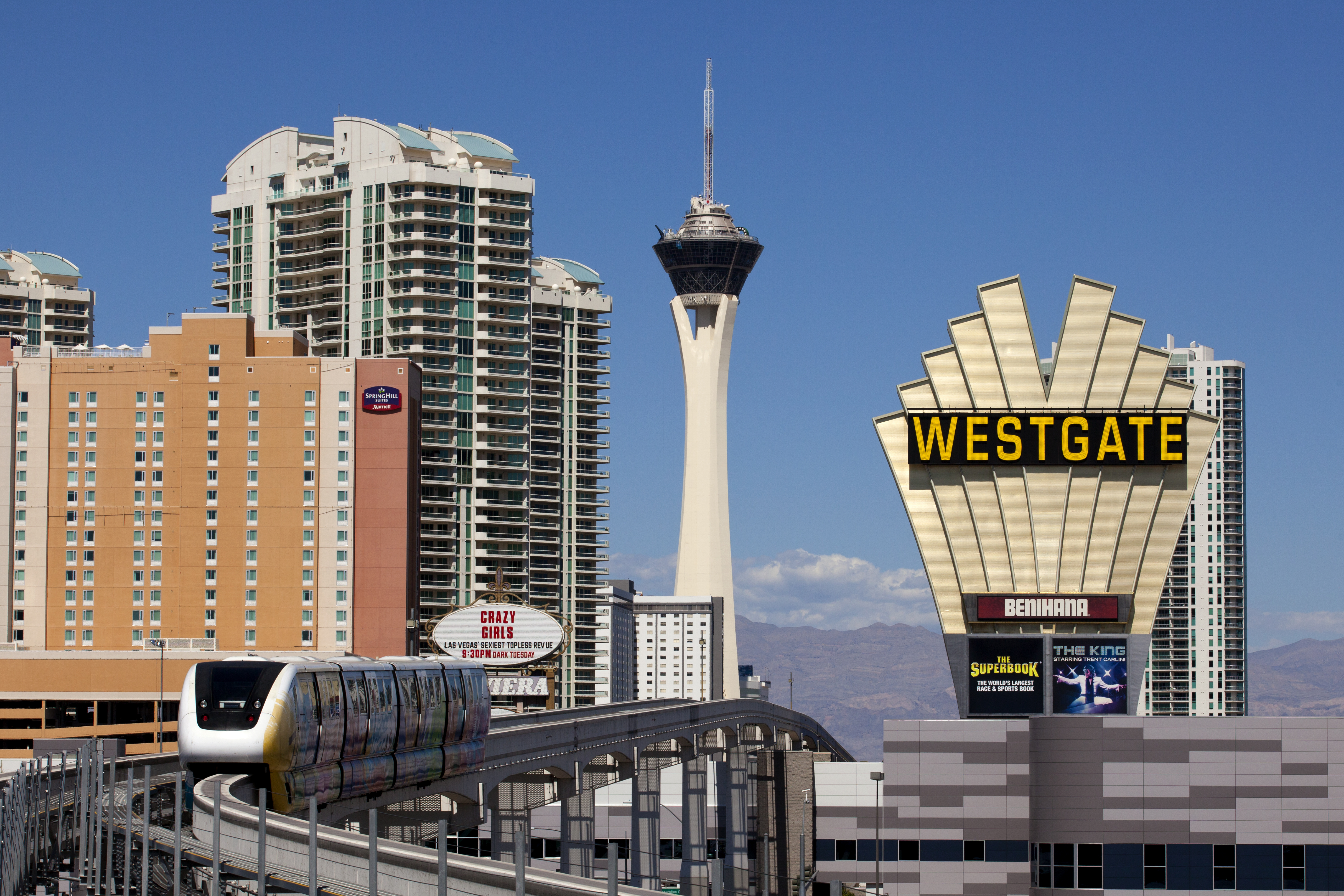 The Las Vegas monorail, with the Westgate Casino and the Stratosphere tower in the background.
