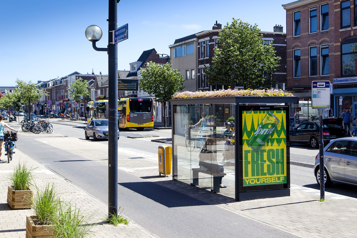 Bus stop with plants on roof