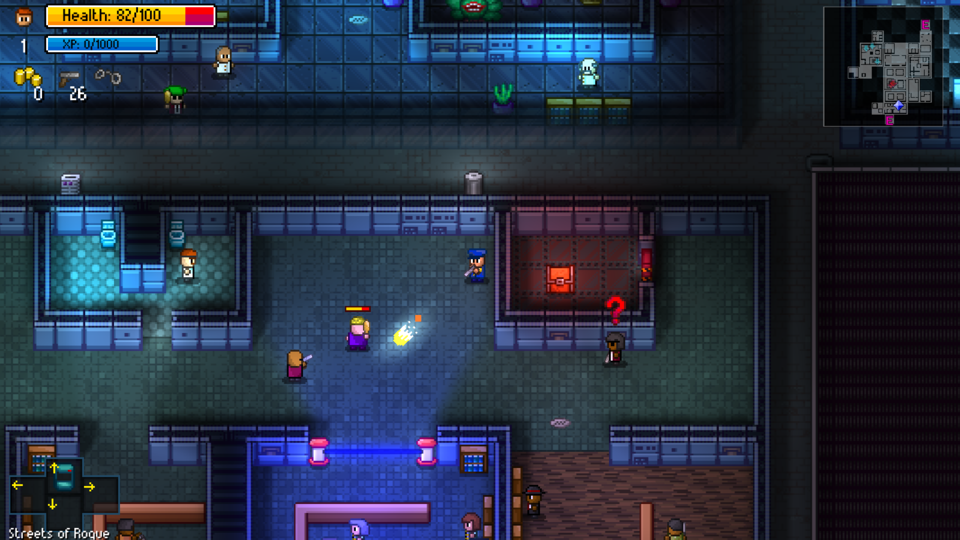 Shooting bad guys in Streets of Rogue